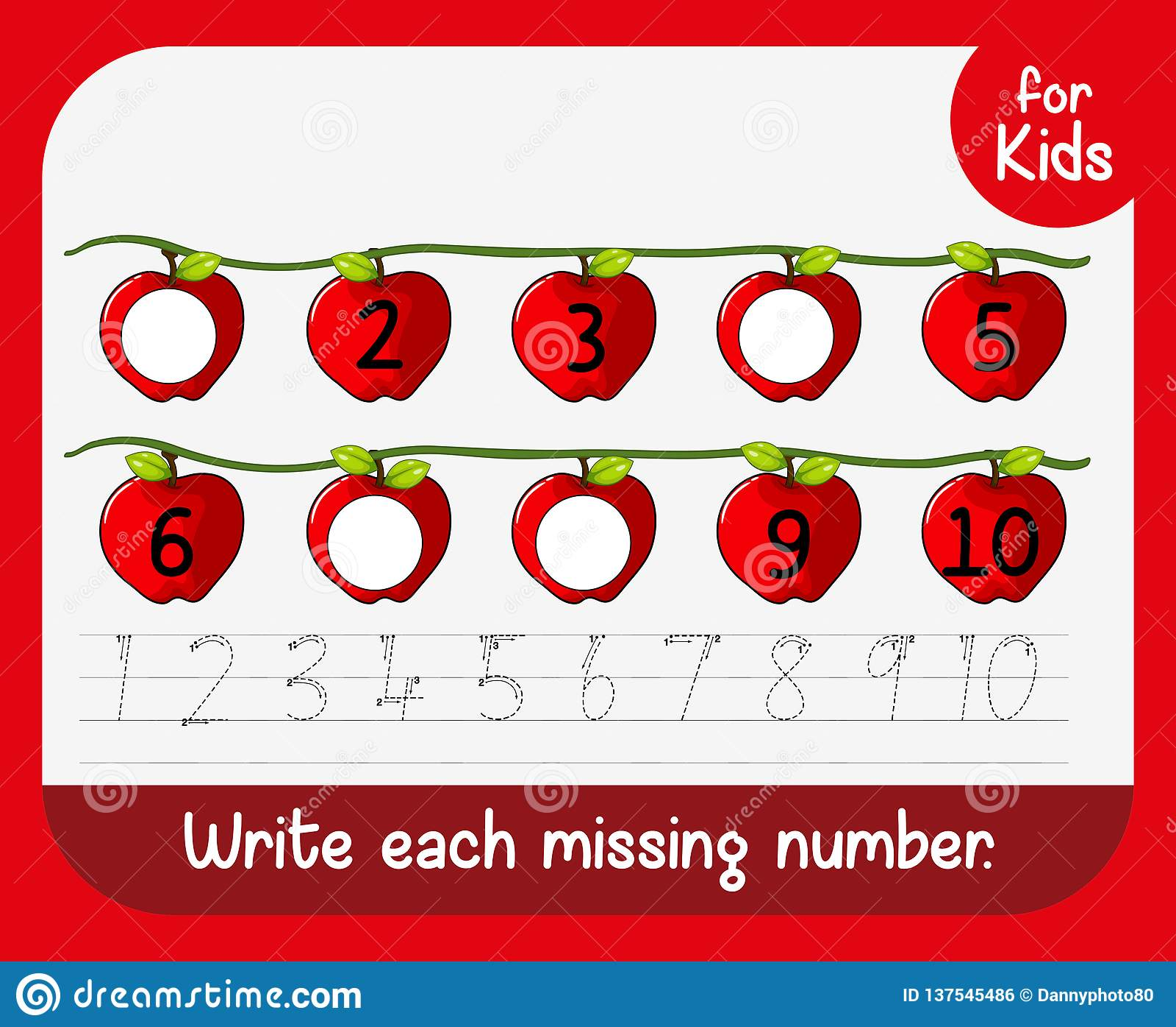 Write Missing Number Worksheet Stock Vector