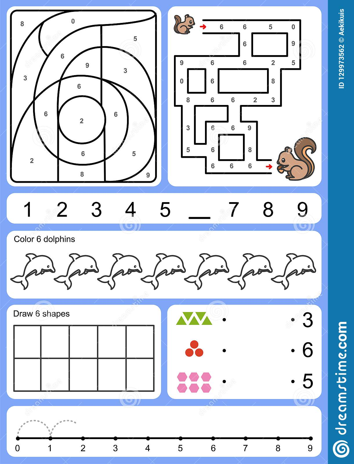 Writing Finding And Drawing Object Of Number Stock Vector