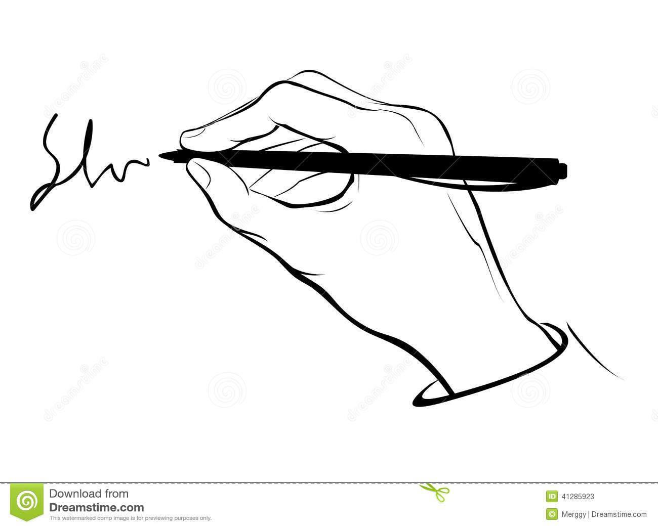 Writing Hand Outline Stock Vector Illustration Of
