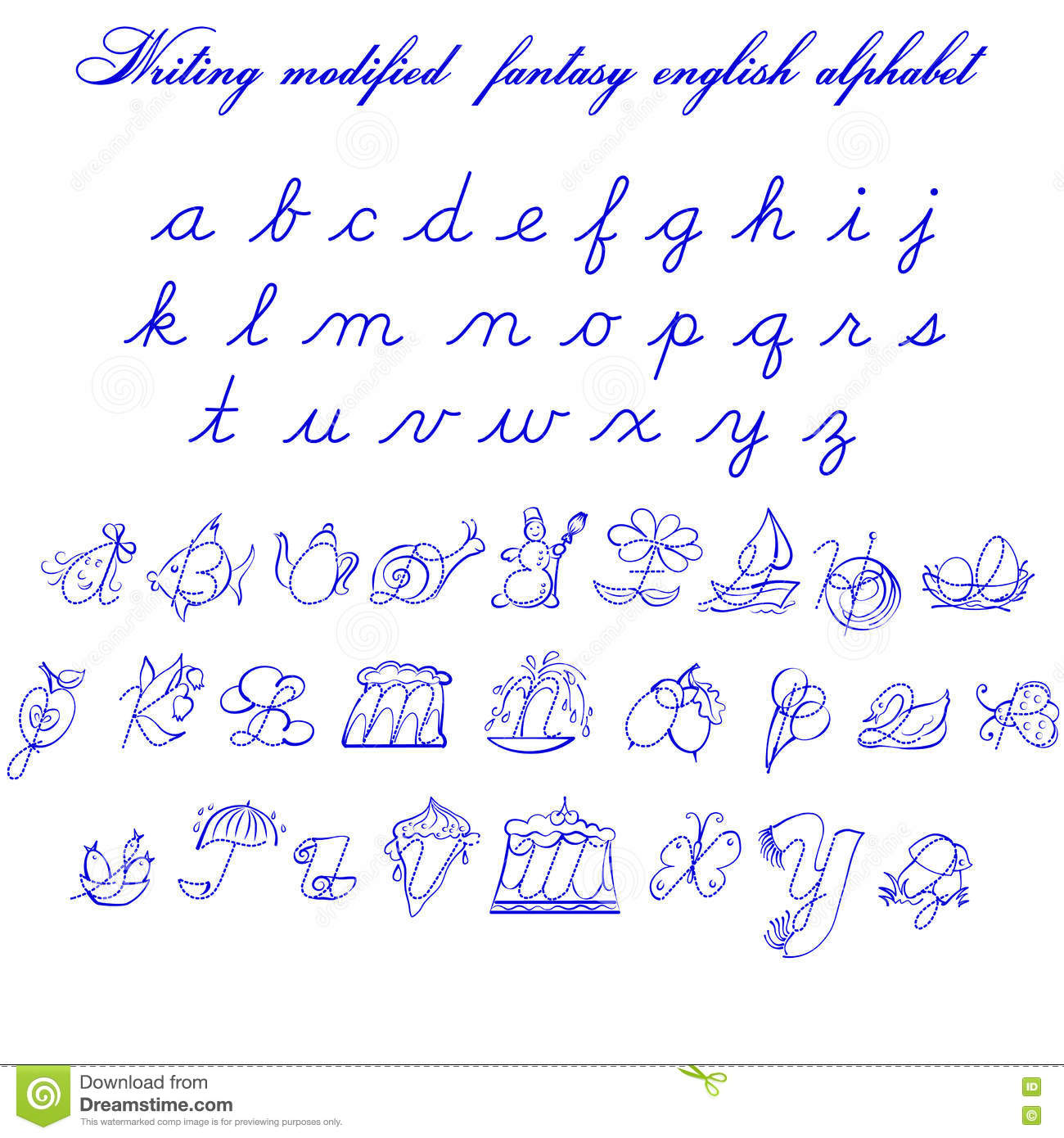 Writing Modifyed Fantasy English Alphabet Illustration