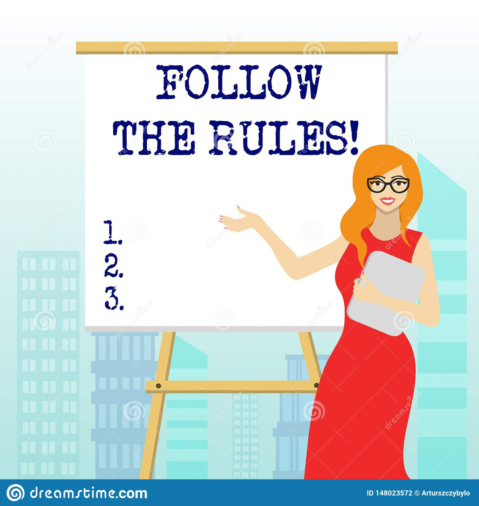 Writing Note Showing Follow The Rules Business Photo
