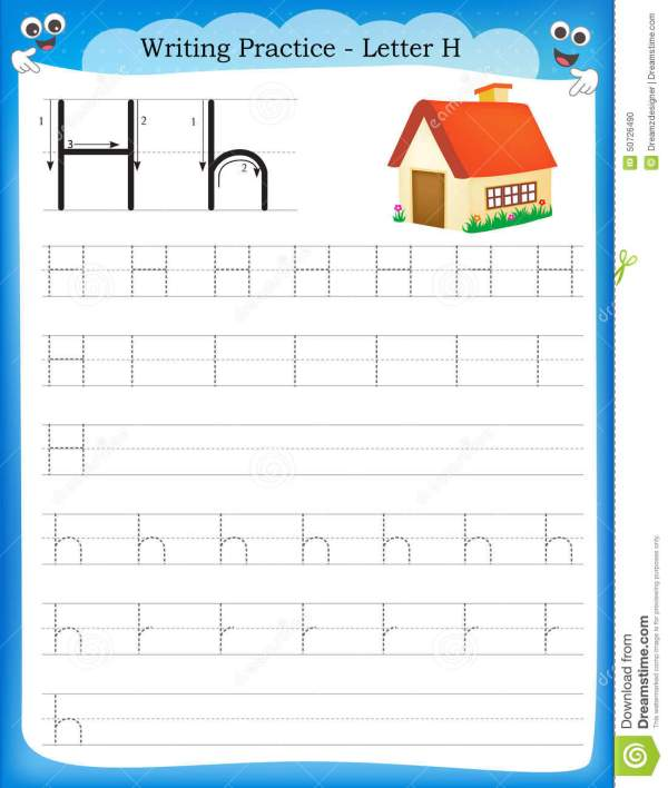 Writing practice letter H stock vector. Illustration of ...