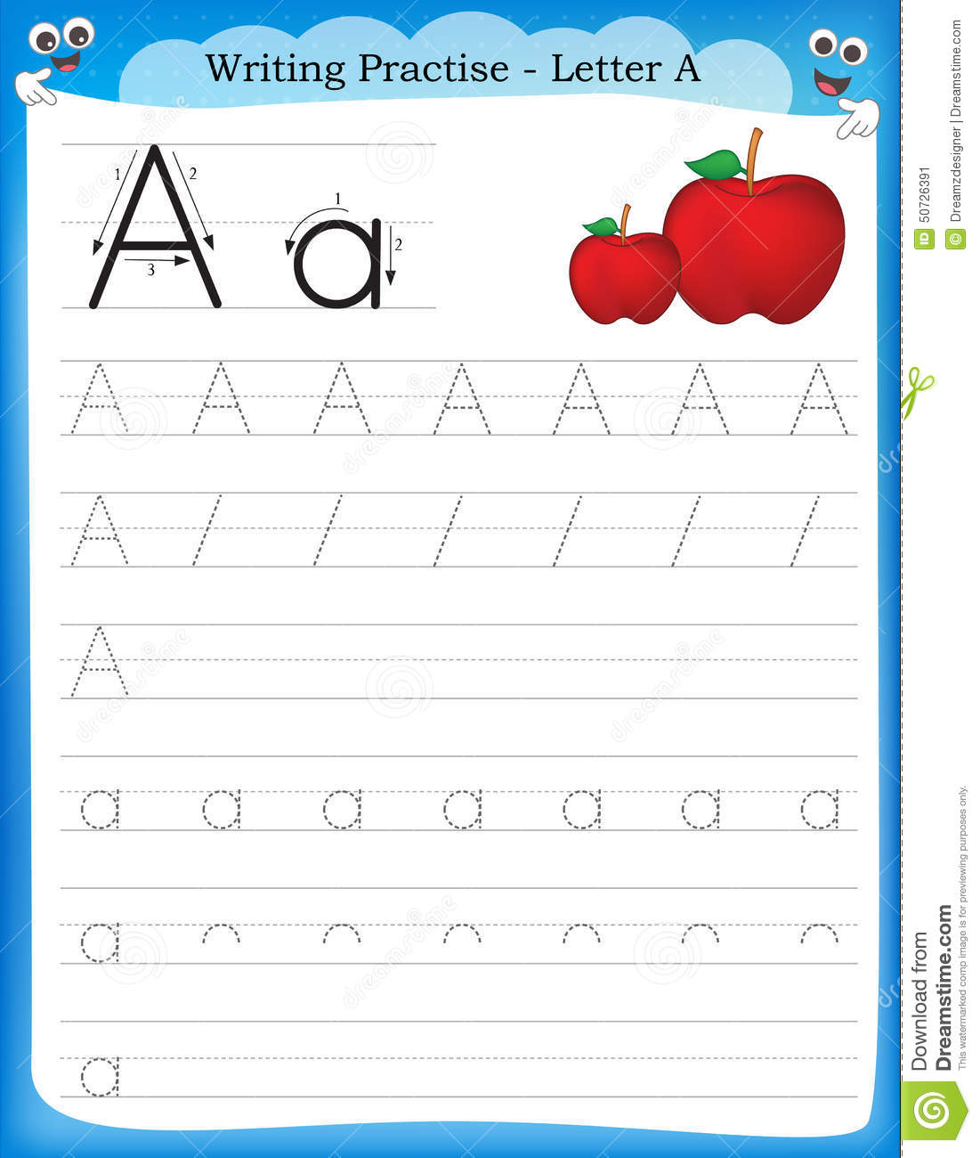Writing Practice Letter A Stock Vector Image Of Preschool