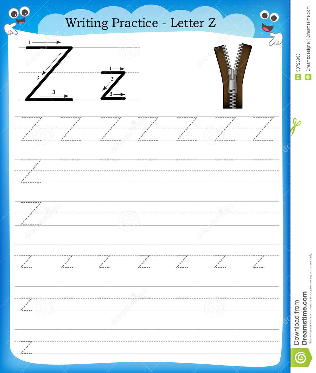 Writing Practice Letter Z Cartoon Vector