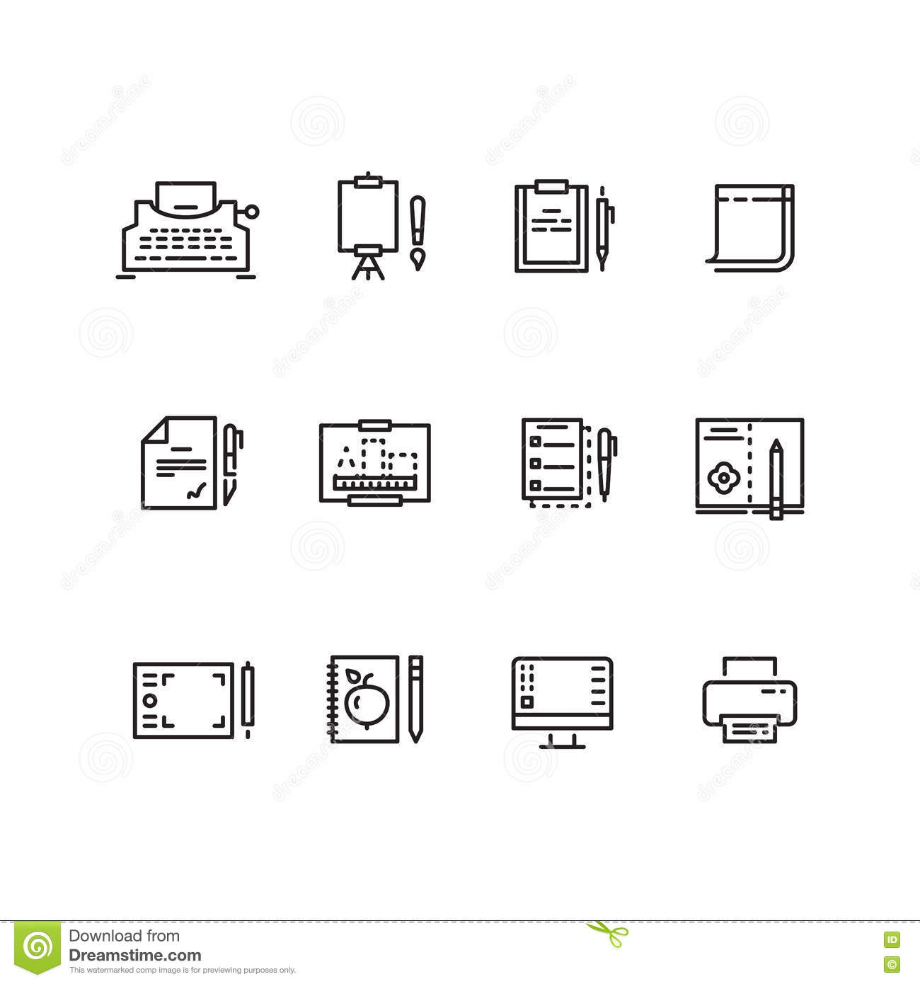 Writing Tools Linear Icons Stock Vector Illustration Of