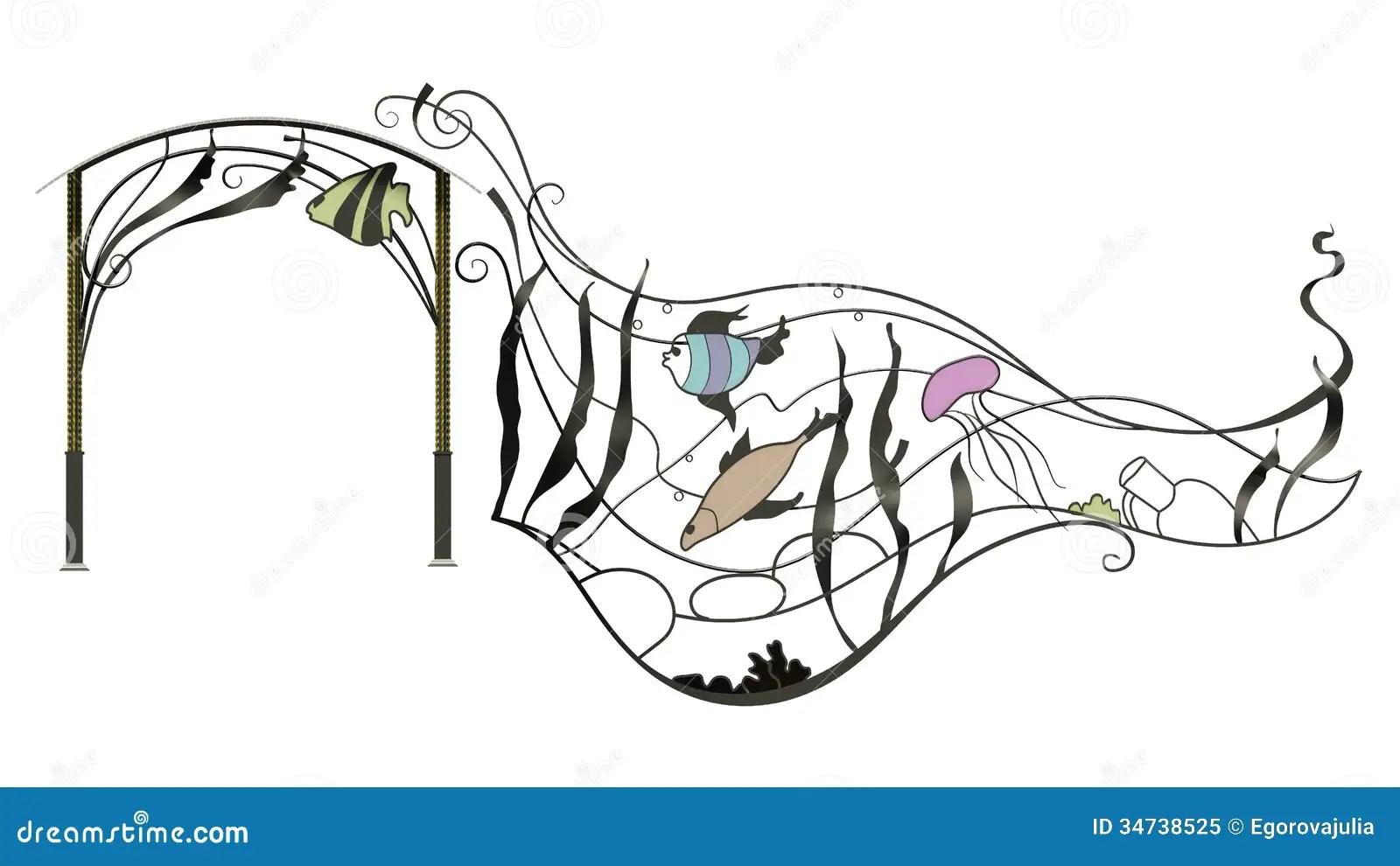 Wrought Iron Canopy Stock Illustration Illustration Of
