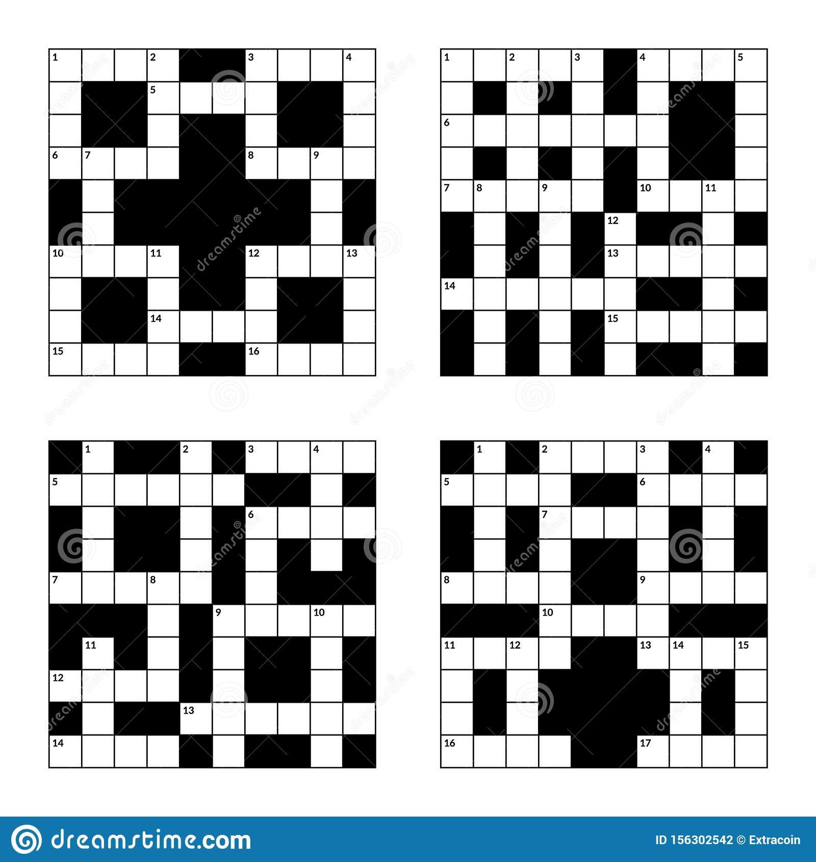 10x10 Crossword Puzzle Vector Illustration Set Empty