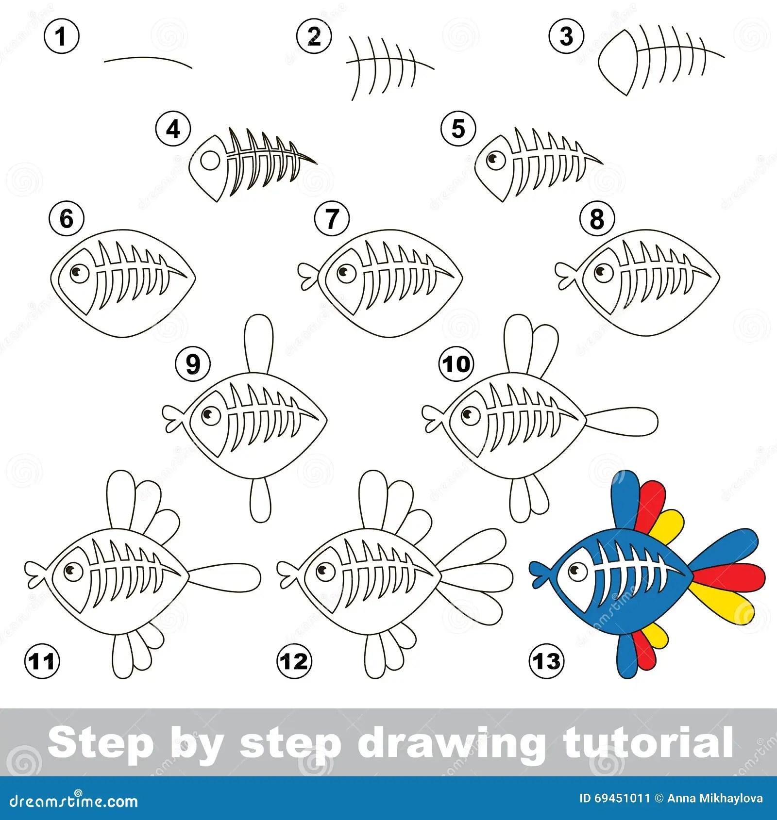 X Ray Fish Drawing Tutorial Stock Vector