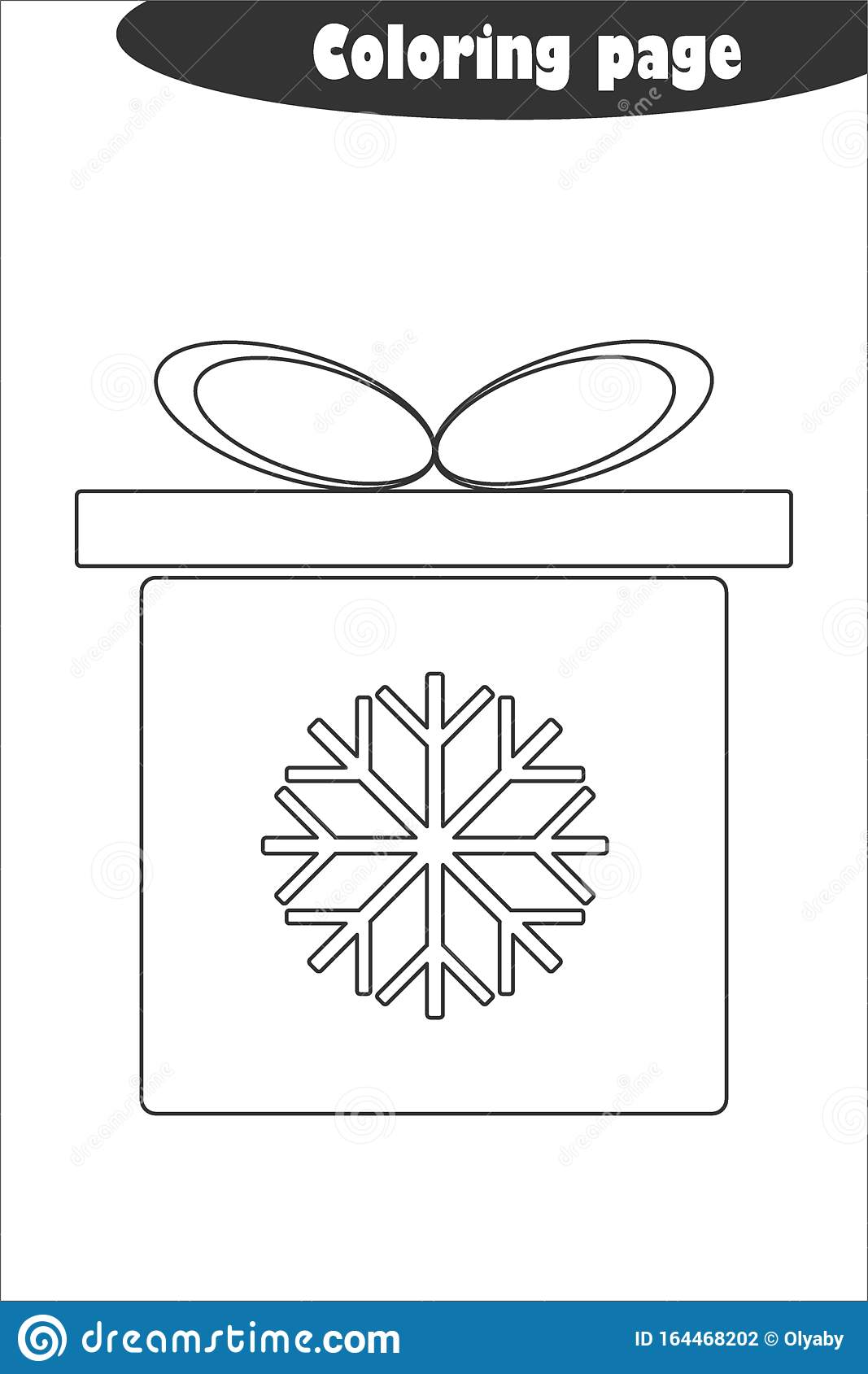 Xmas T Box In Cartoon Style Coloring Page Christmas