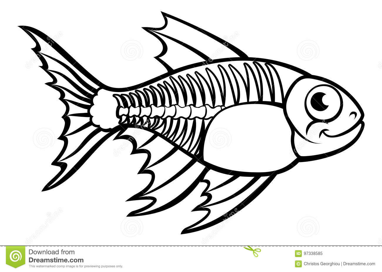 Xray Tetra Fish Cartoon Character Stock Vector