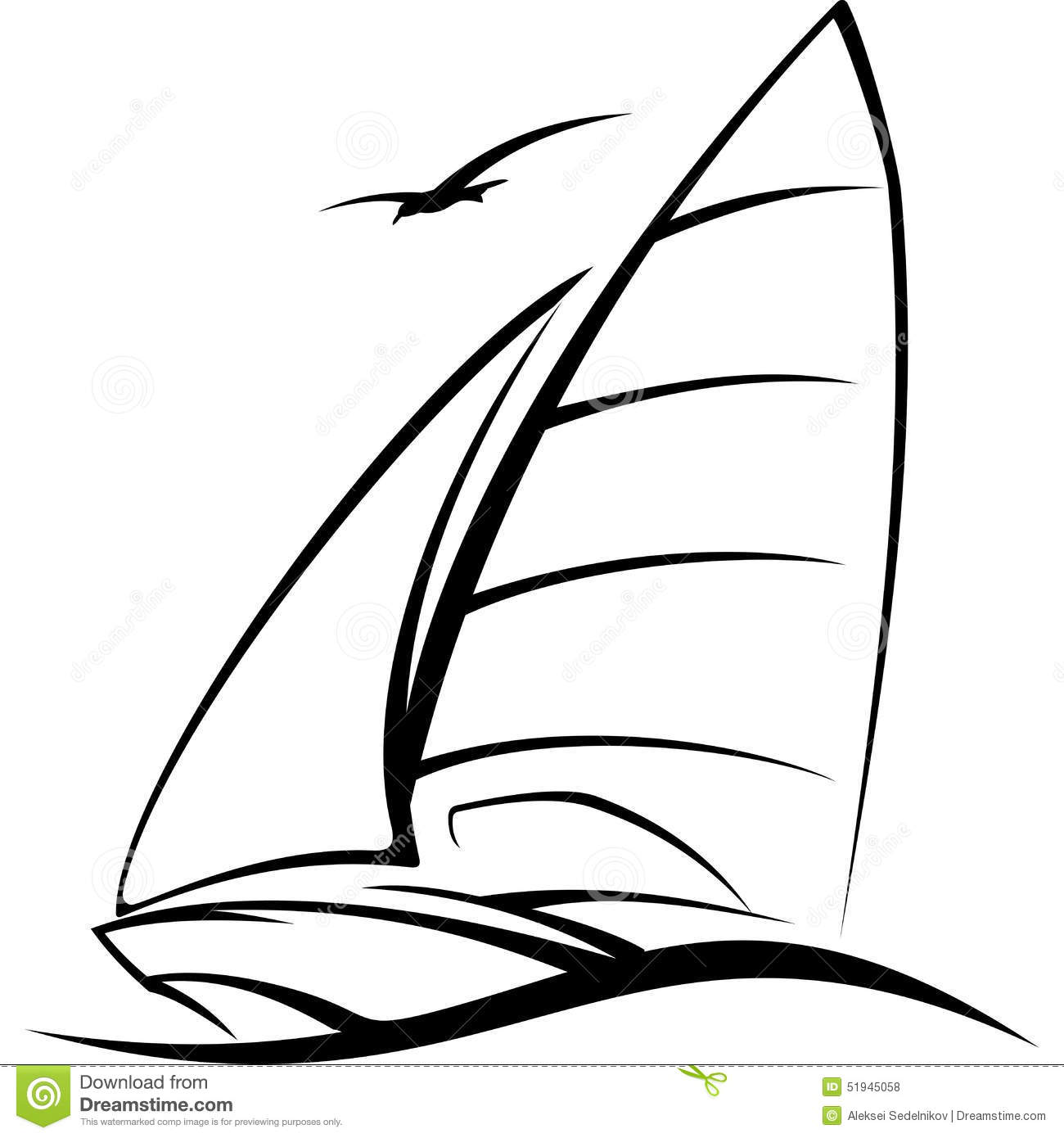 Yacht Sailing On The Wave Vector Illustration Stock Vector