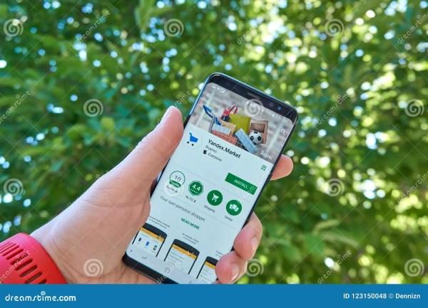 Yandex Market Mobile App On Samsung S8 Editorial Stock ...