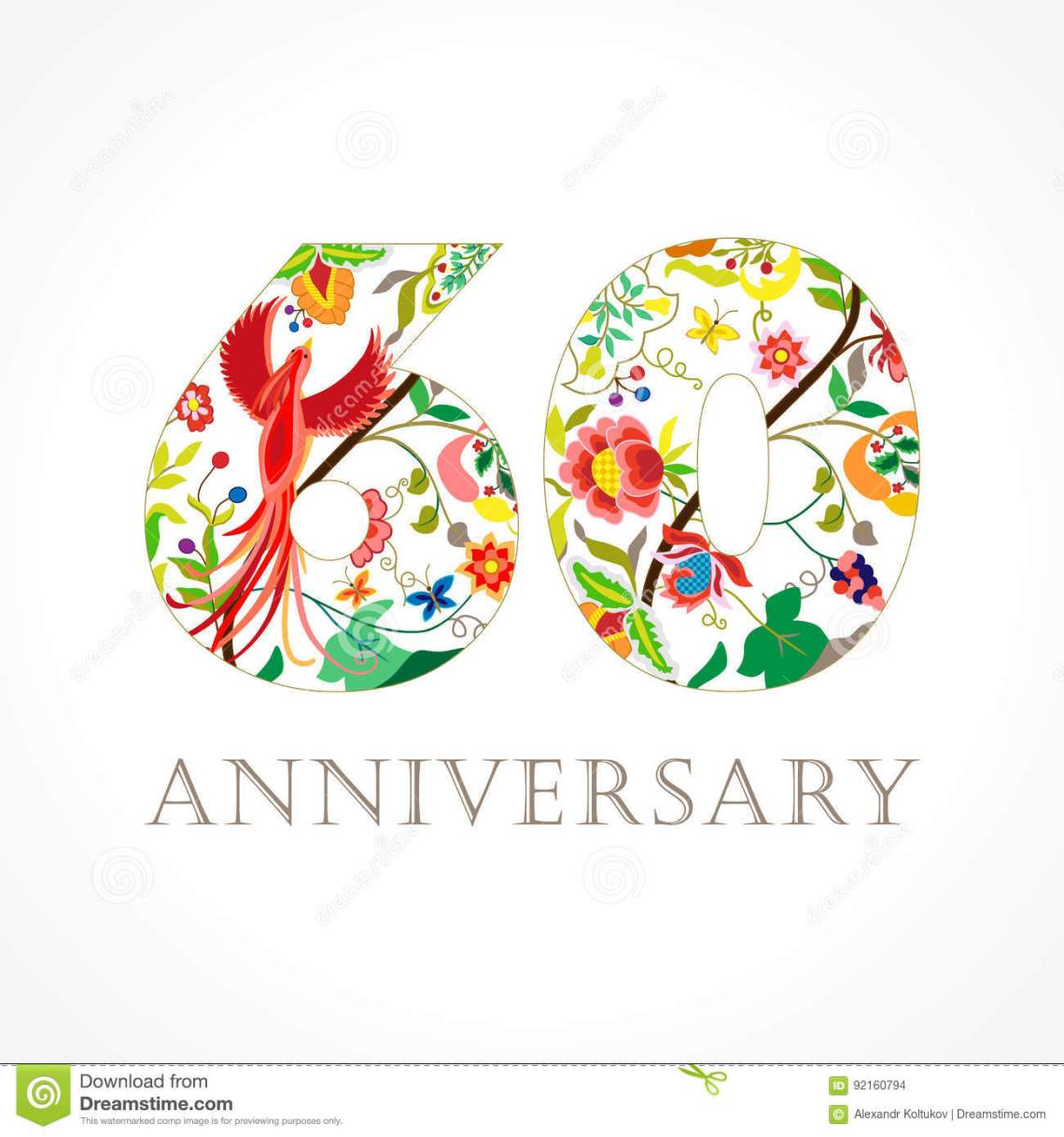 Download 60 Years Old Luxurious Celebrating Folk Logo. Stock Vector ...