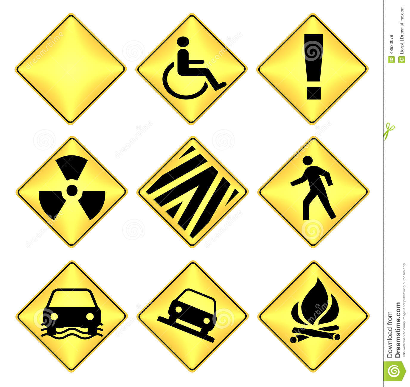 Yellow And Black Caution Road Signs Stock Illustration