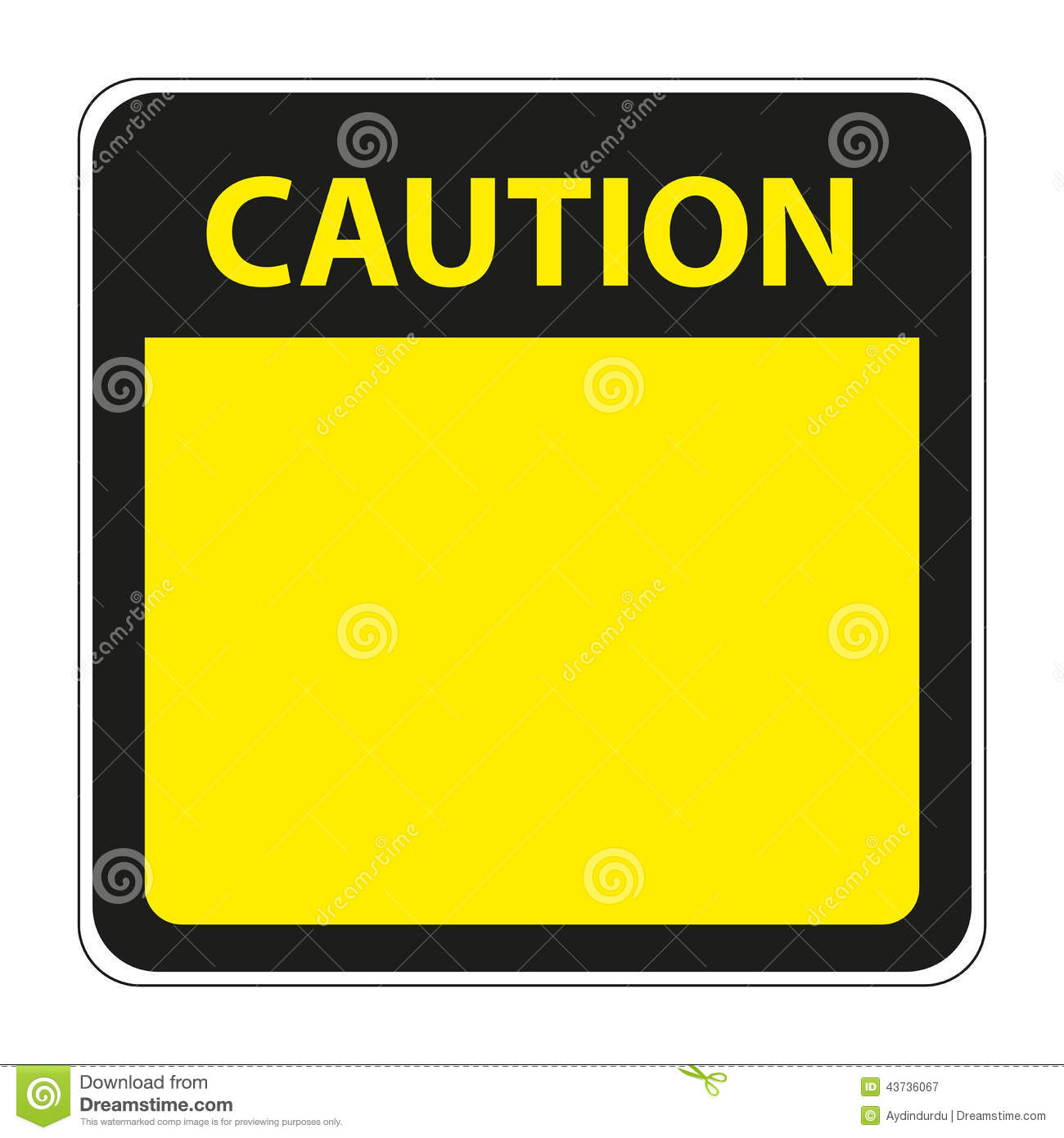 Yellow Caution Sign With Blank Space Stock Vector
