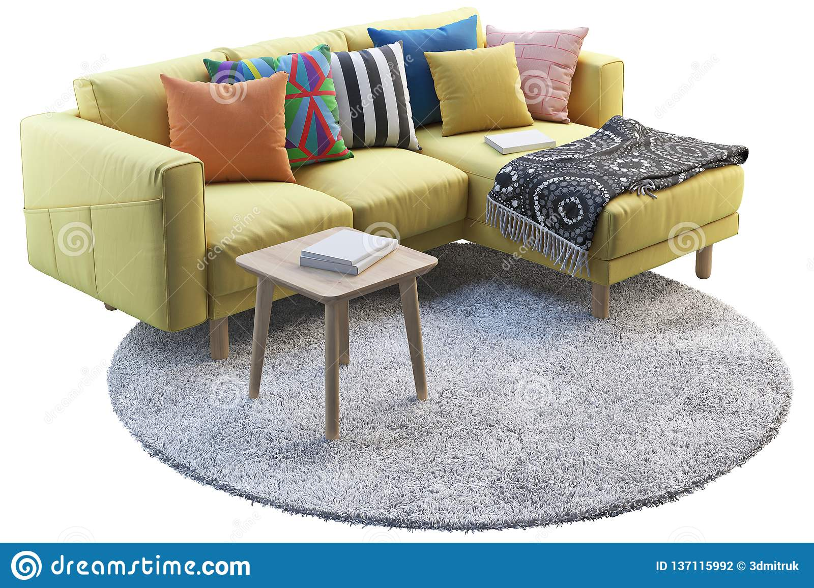 https www dreamstime com yellow fabric sofa gray rug wooden coffee table d render d render yellow fabric sofa chaise lounge gray round rug image137115992