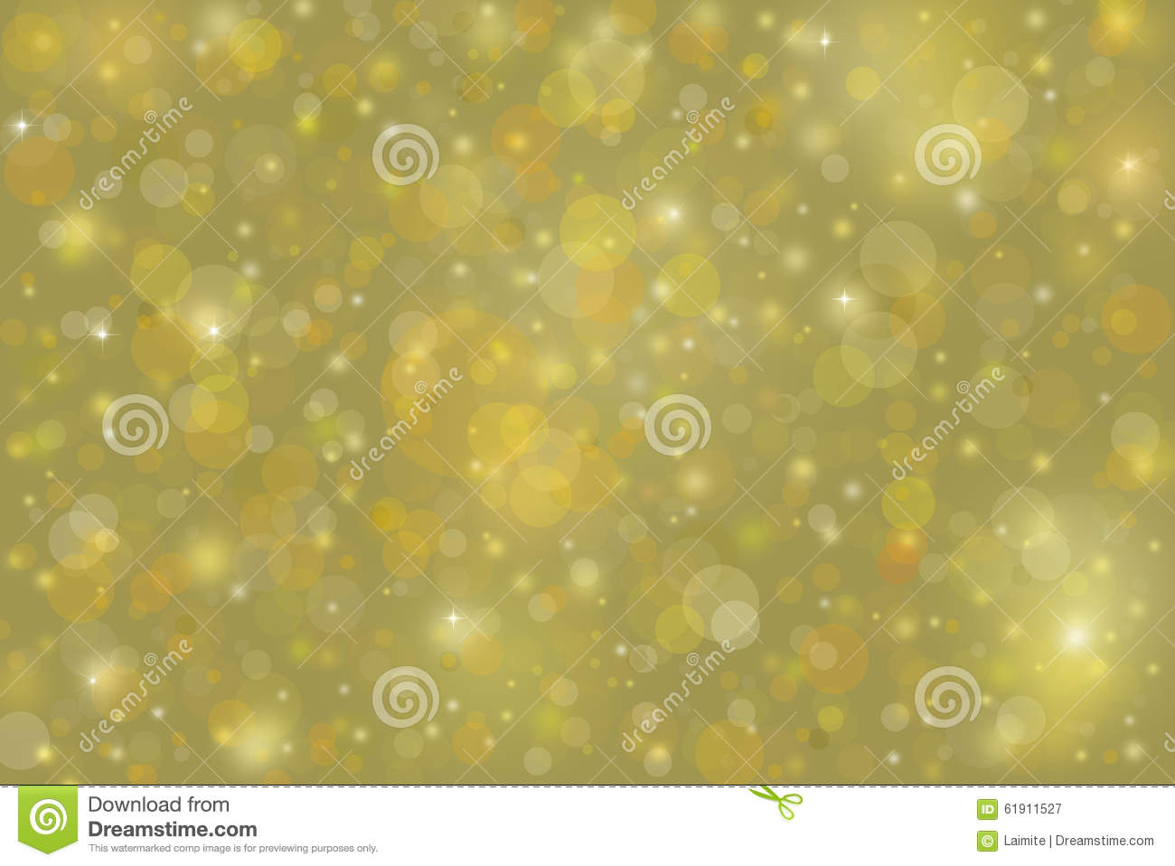 Yellow Gold Bubble Background With Christmas Lights Stock