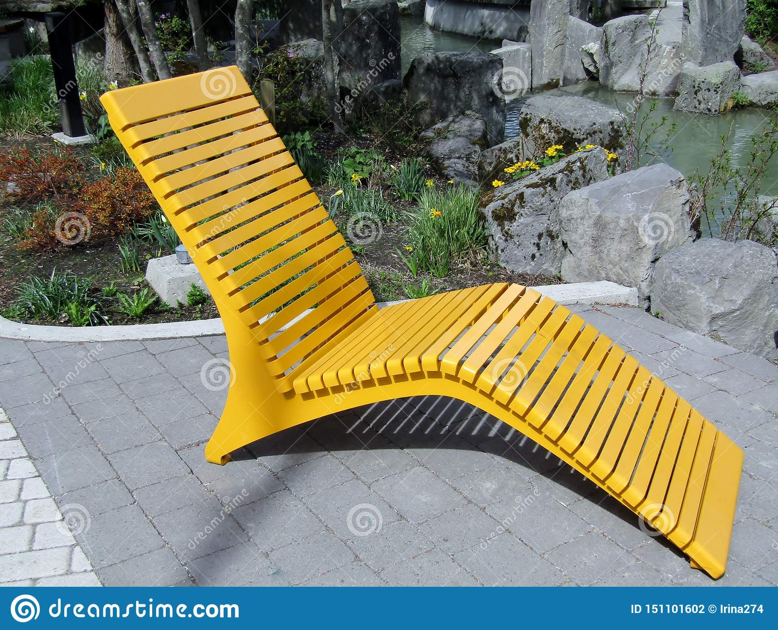 https www dreamstime com yellow modern metal outdoor lounge chair patio image151101602