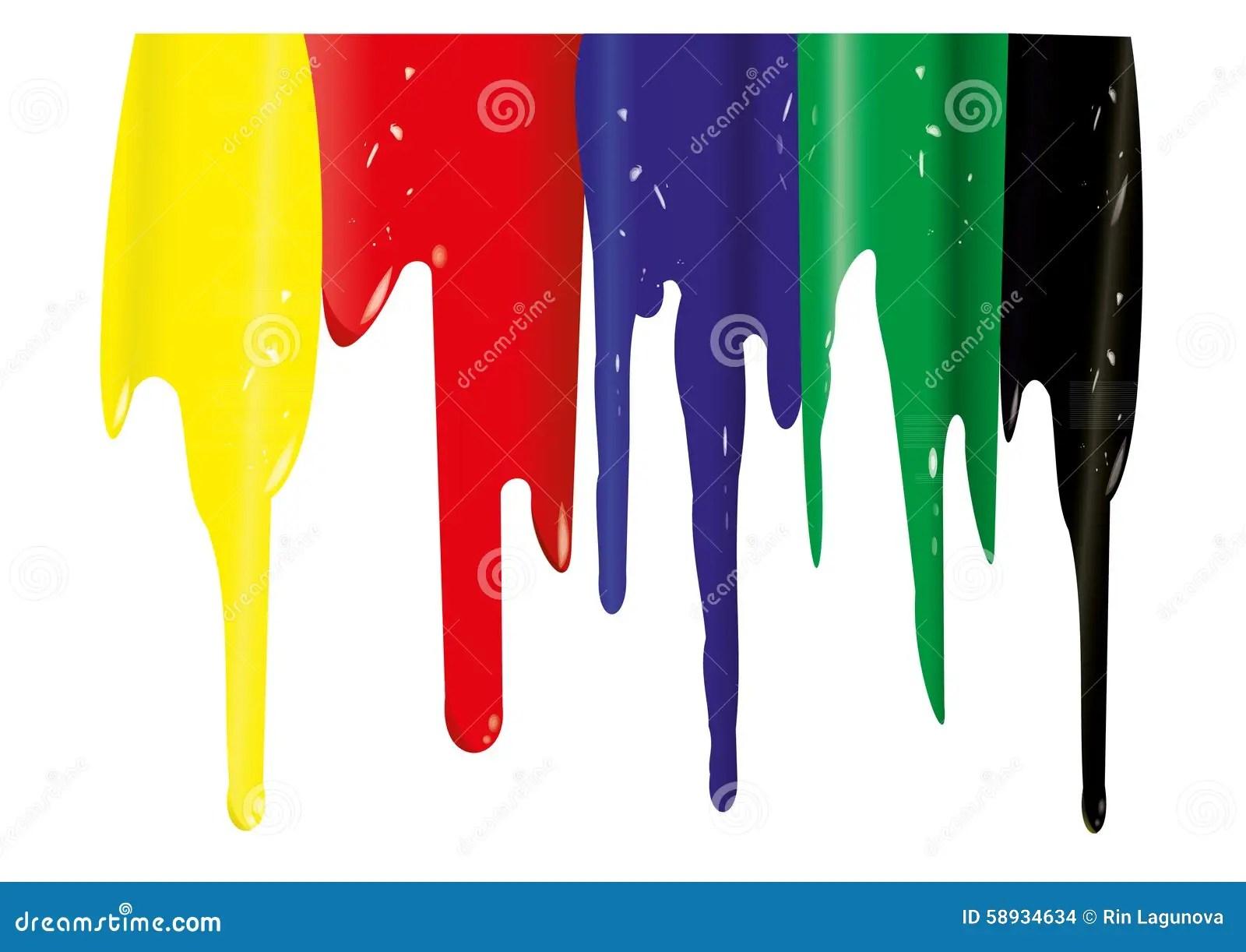 Yellow Red Blue Green Black Streaks Stock Illustration