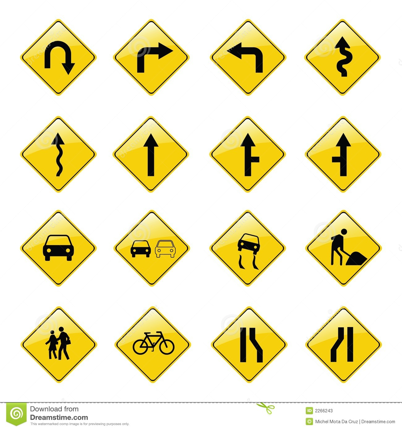 Yellow Road Sign Icons Stock Vector Image Of Sign Arrows