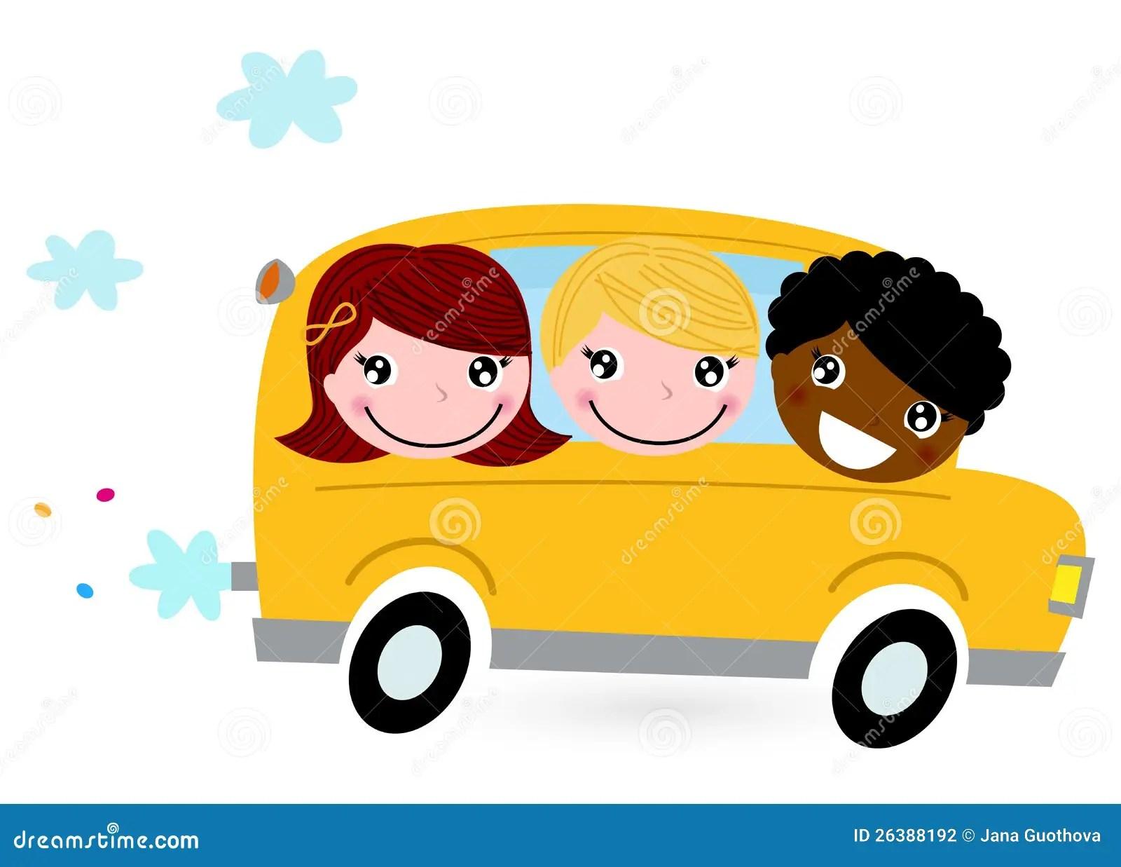 Yellow School Bus With Kids Stock Vector