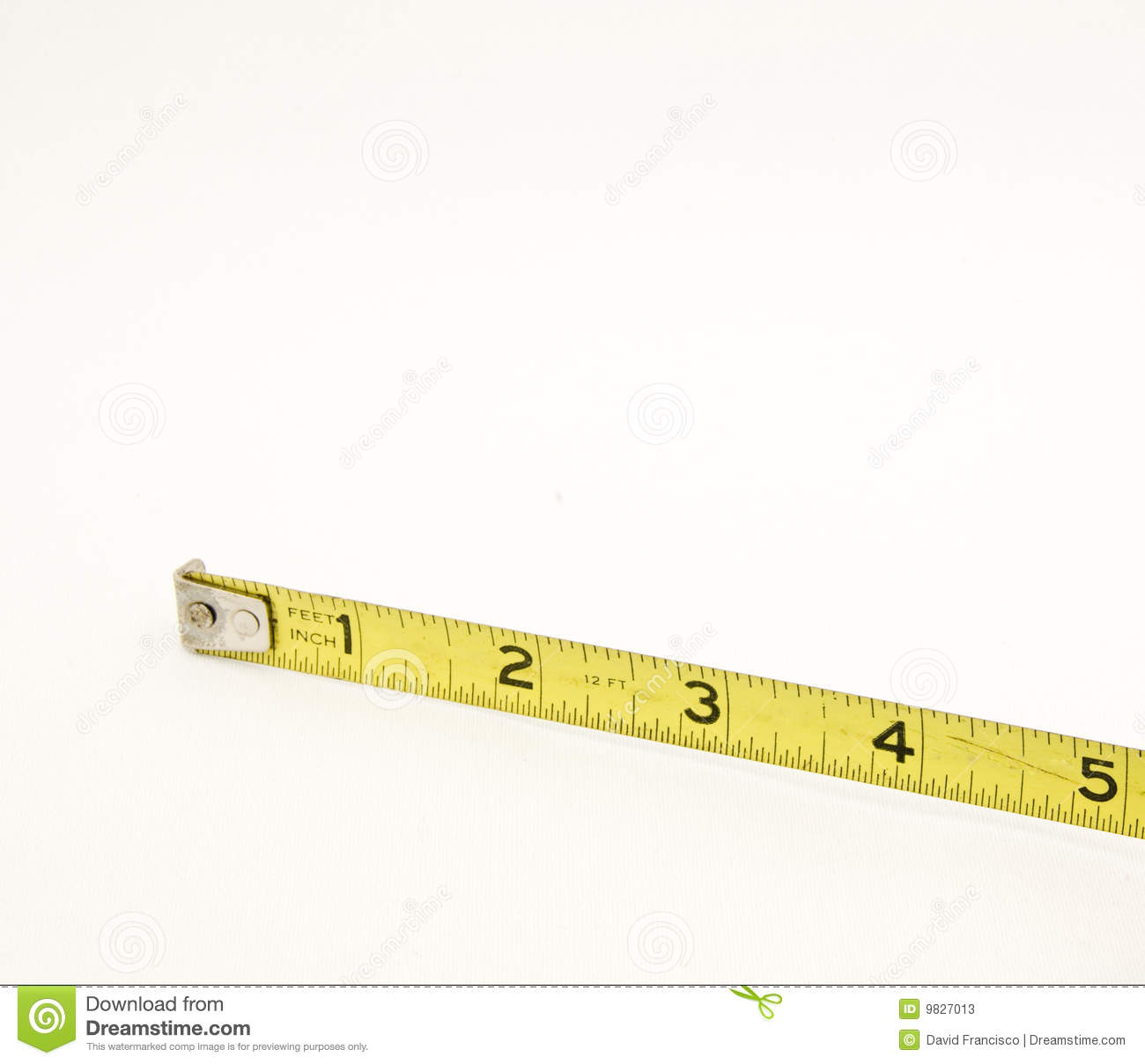 Yellow Tape Measure Five Inches Stock Photos