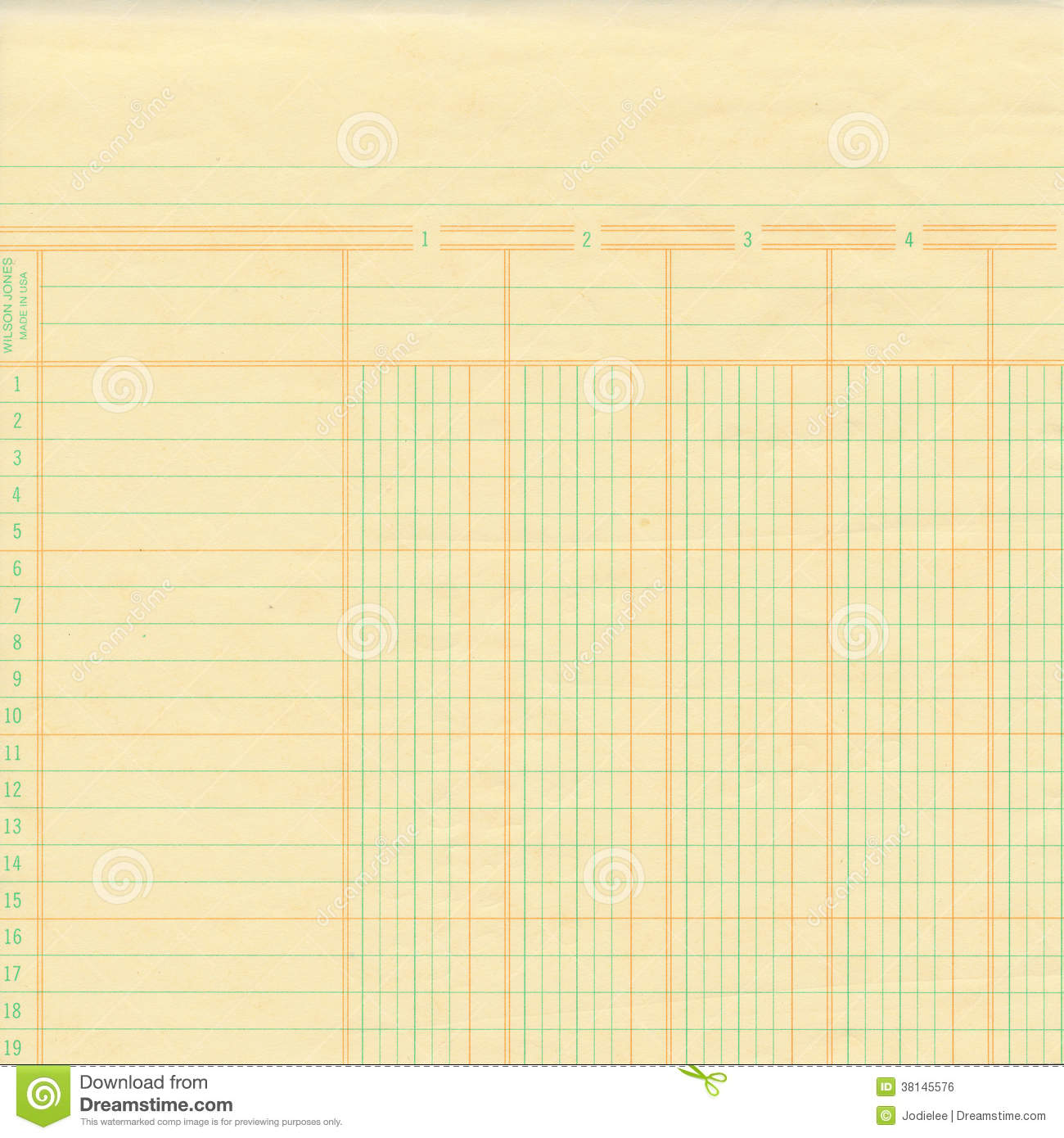 Yellow Vintage Ledger Or Graph Paper Royalty Free Stock