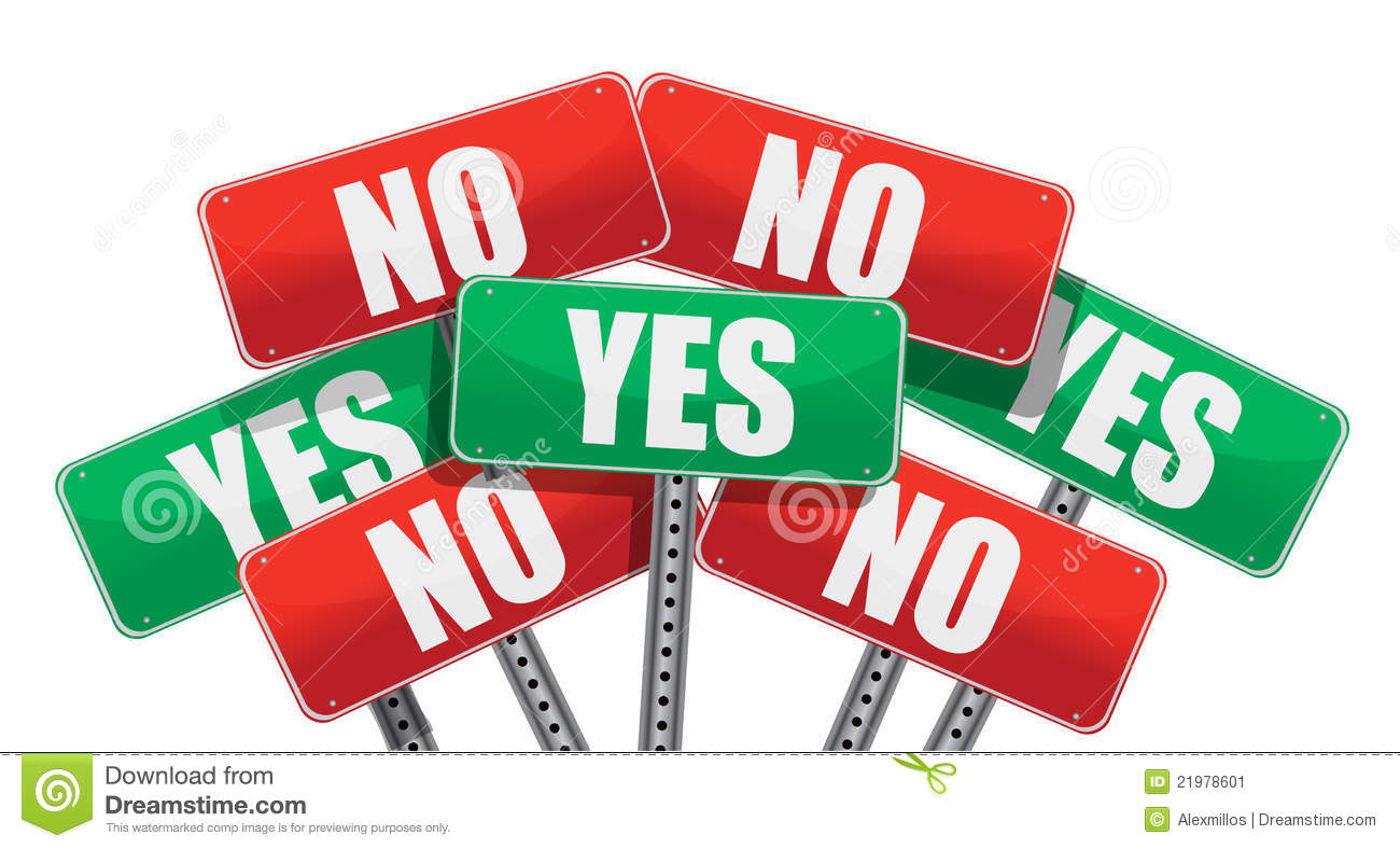 Yes And No Signs Illustration Stock Vector