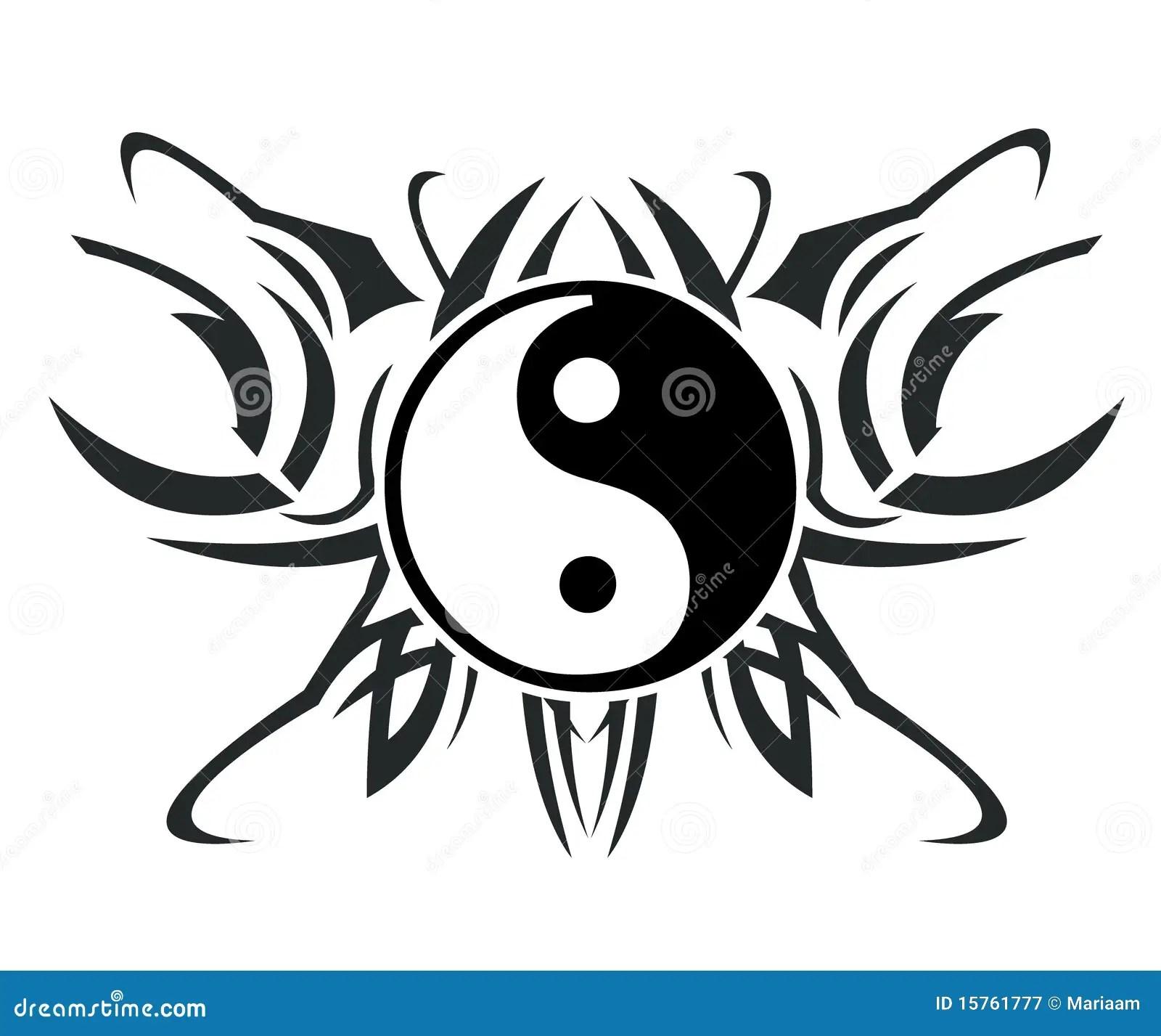 Yin Amp Yang Tatoegering Stock Illustratie Illustratie