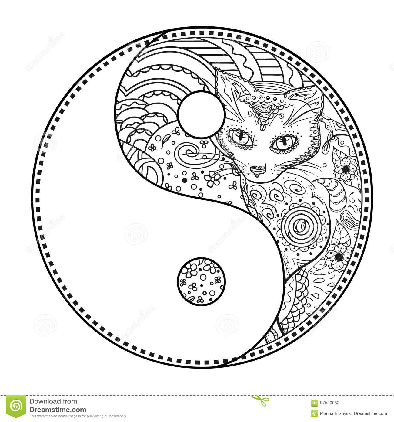 Yin Yang Tattoo For Design Symbol Illustration Vector