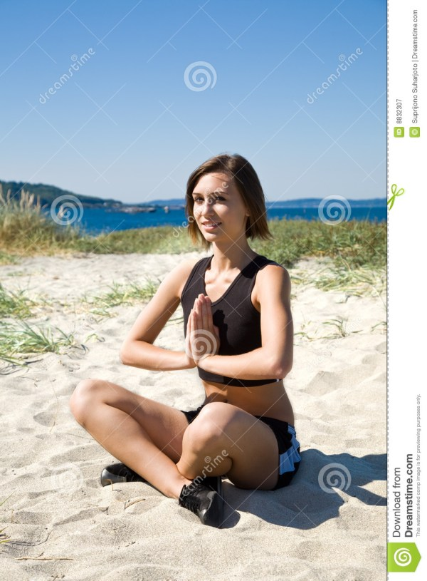 Yoga Girl On The Beach Royalty Free Stock Photography ...