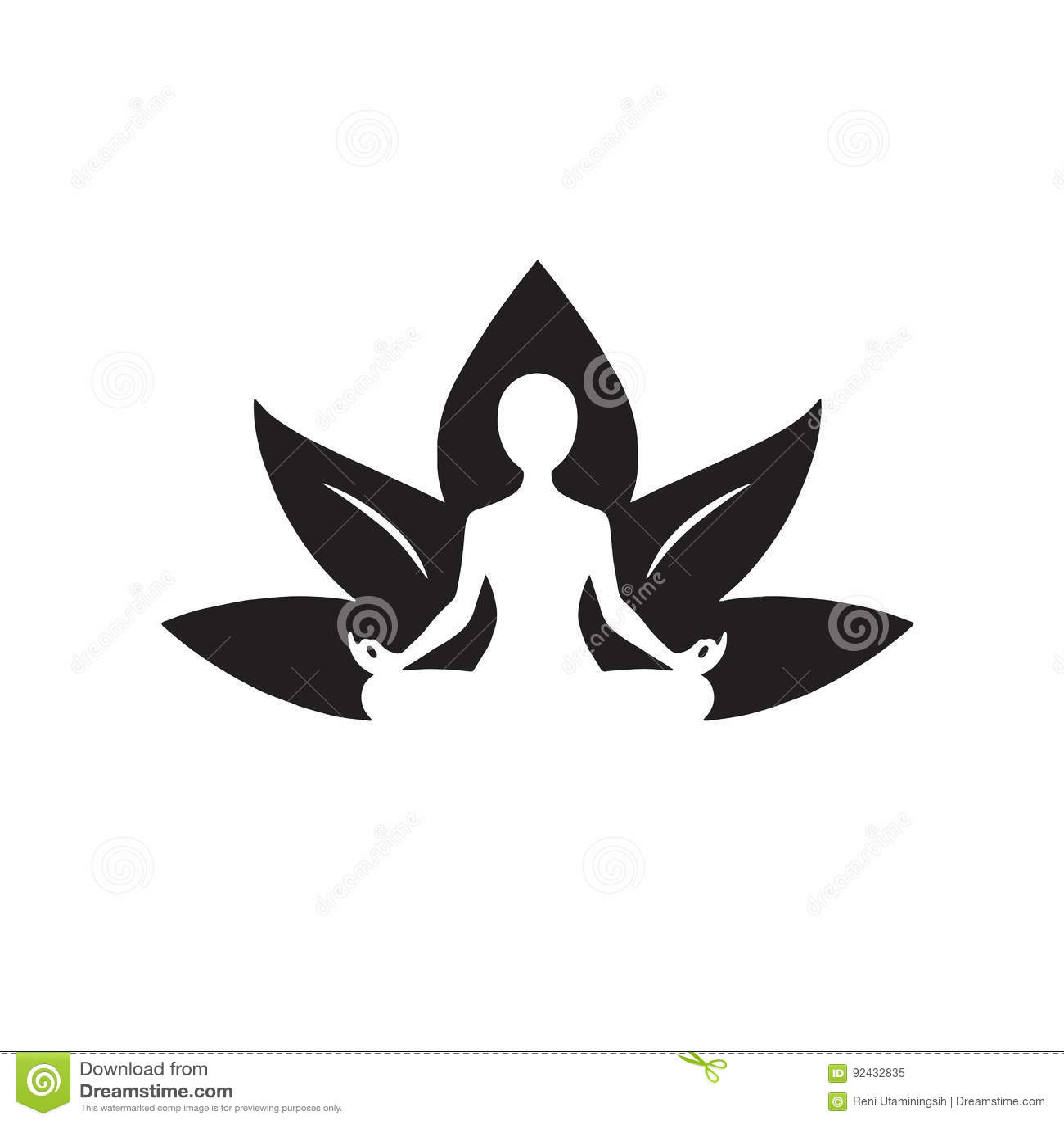 Yoga Lotus Icon Black Et Dessin Blanc Illustration De Vecteur