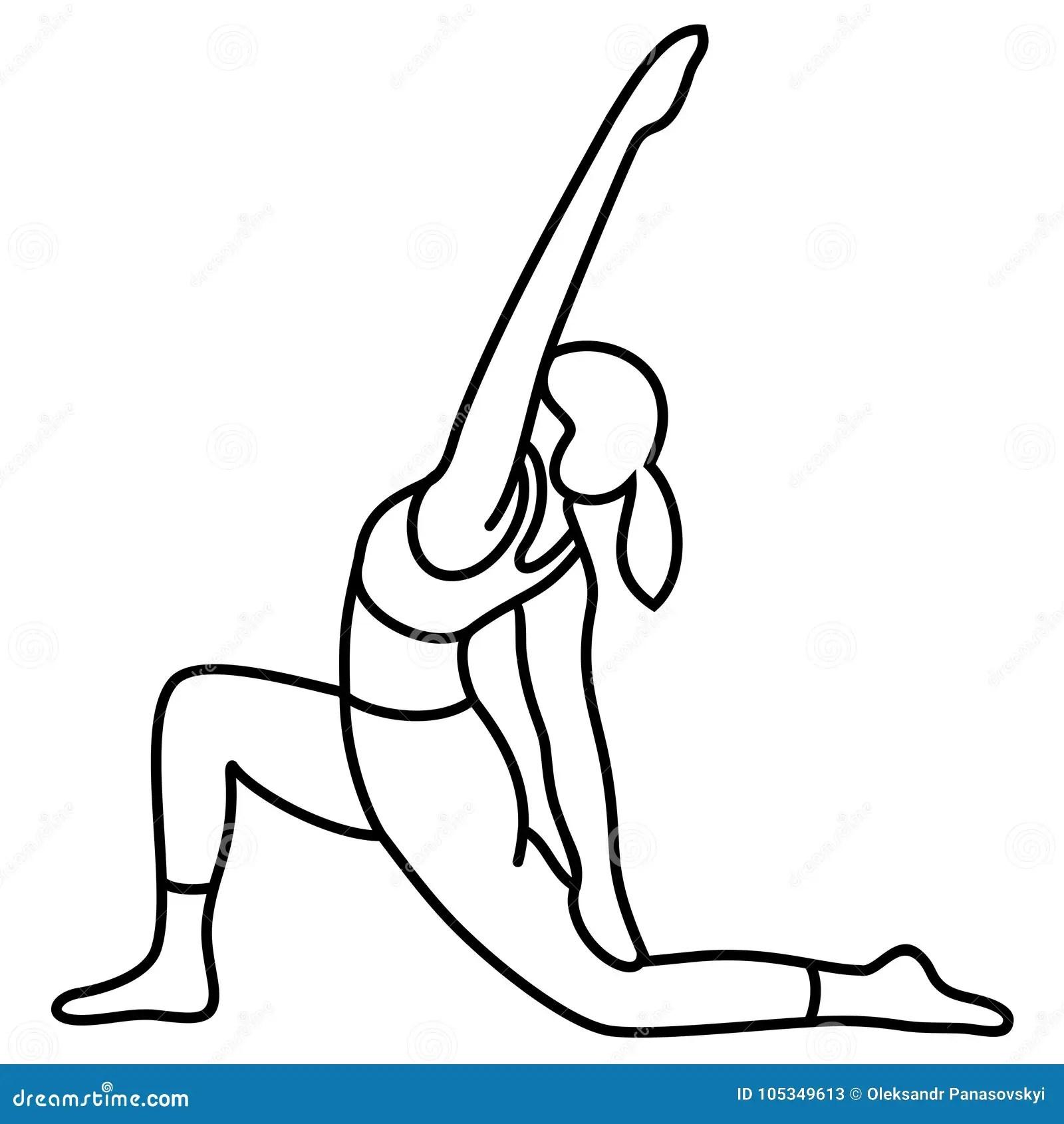Yoga Pose Asana Pose Posture Vector Flat Outlines Stock