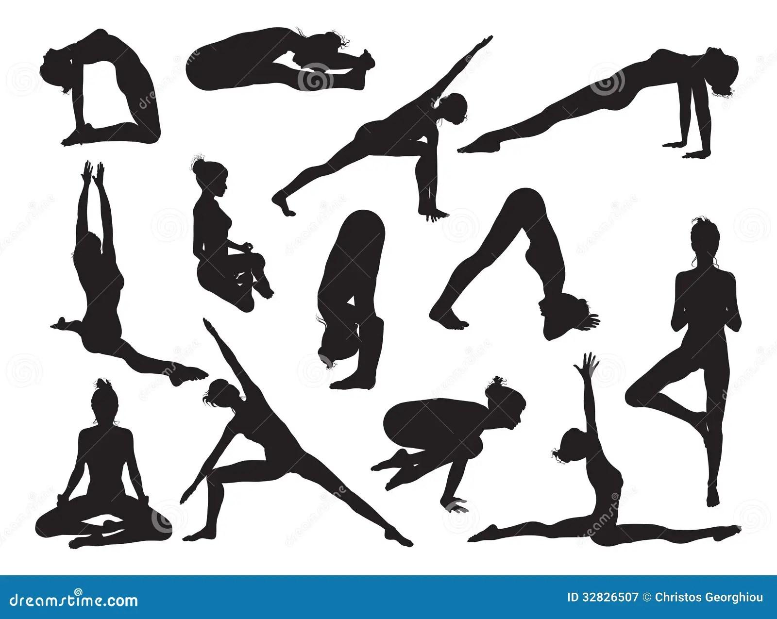 Yoga Pose Women Silhouettes Royalty Free Stock Photography