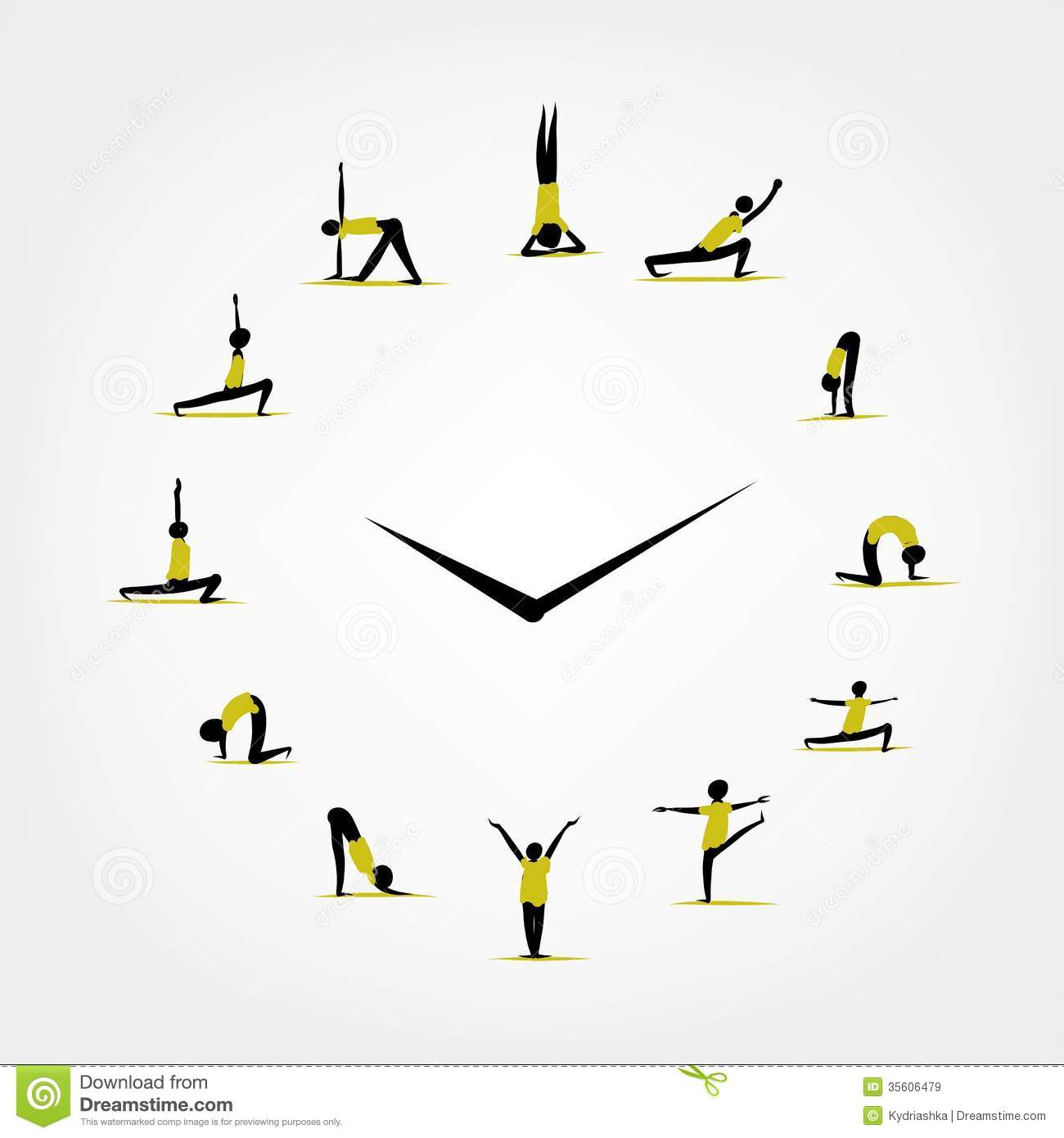 Yoga Time Watch Concept For Your Design Royalty Free