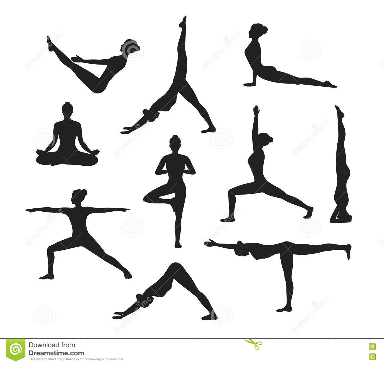 Yoga Workout Silhouettes Of A Woman In Yoga Asanas Stock
