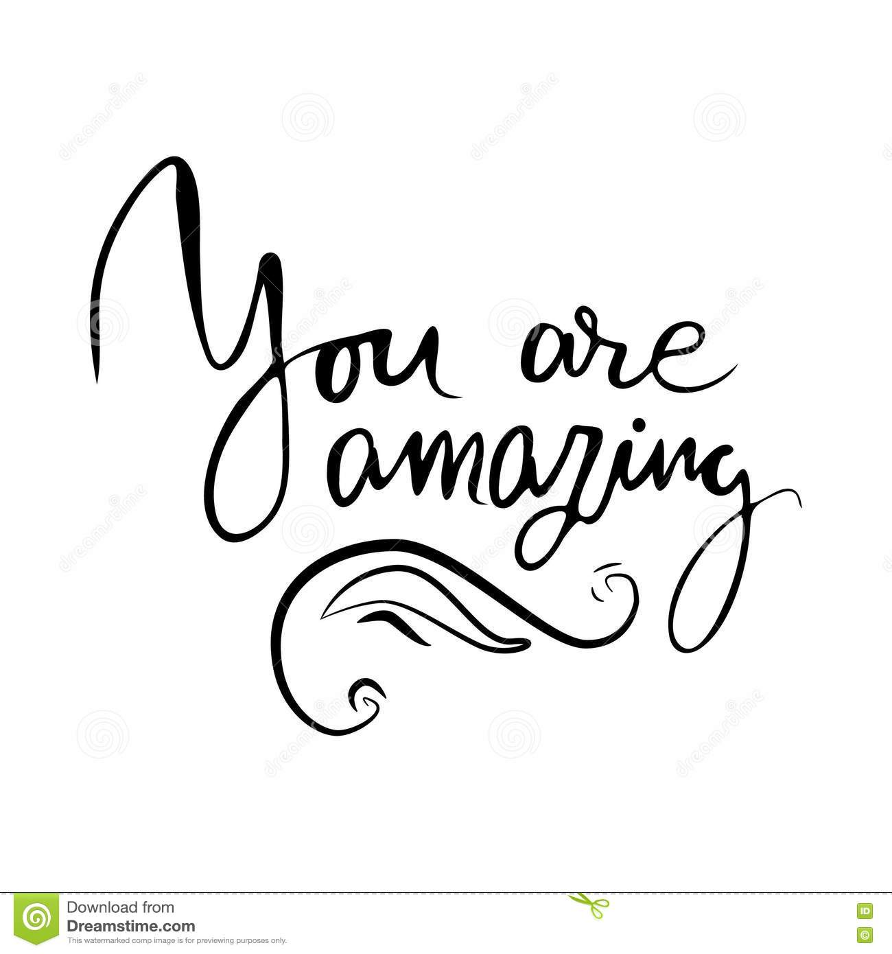 You Are Amazing Vector Calligraphic Inspirational