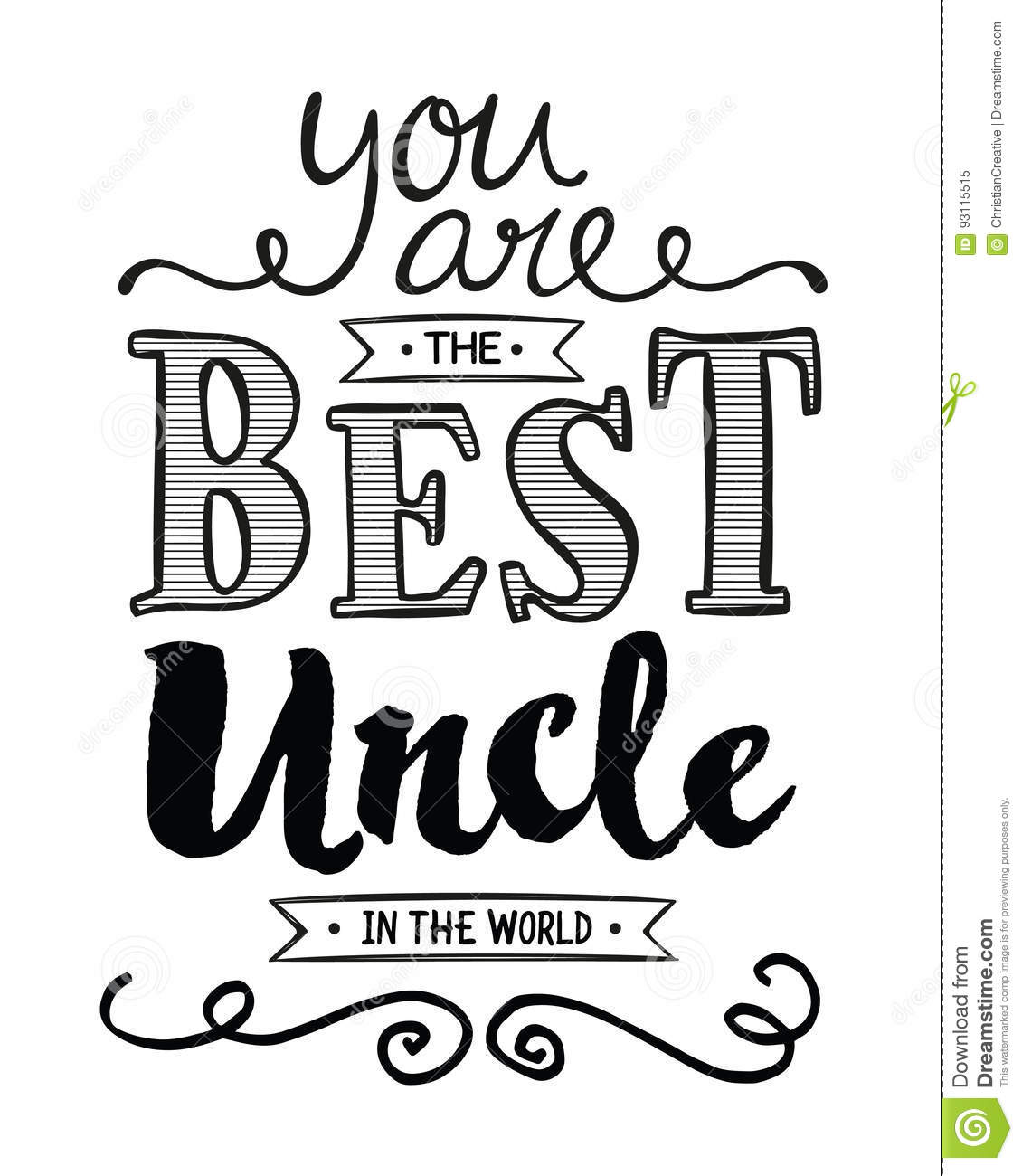 You Are The Best Uncle In The World Stock Vector