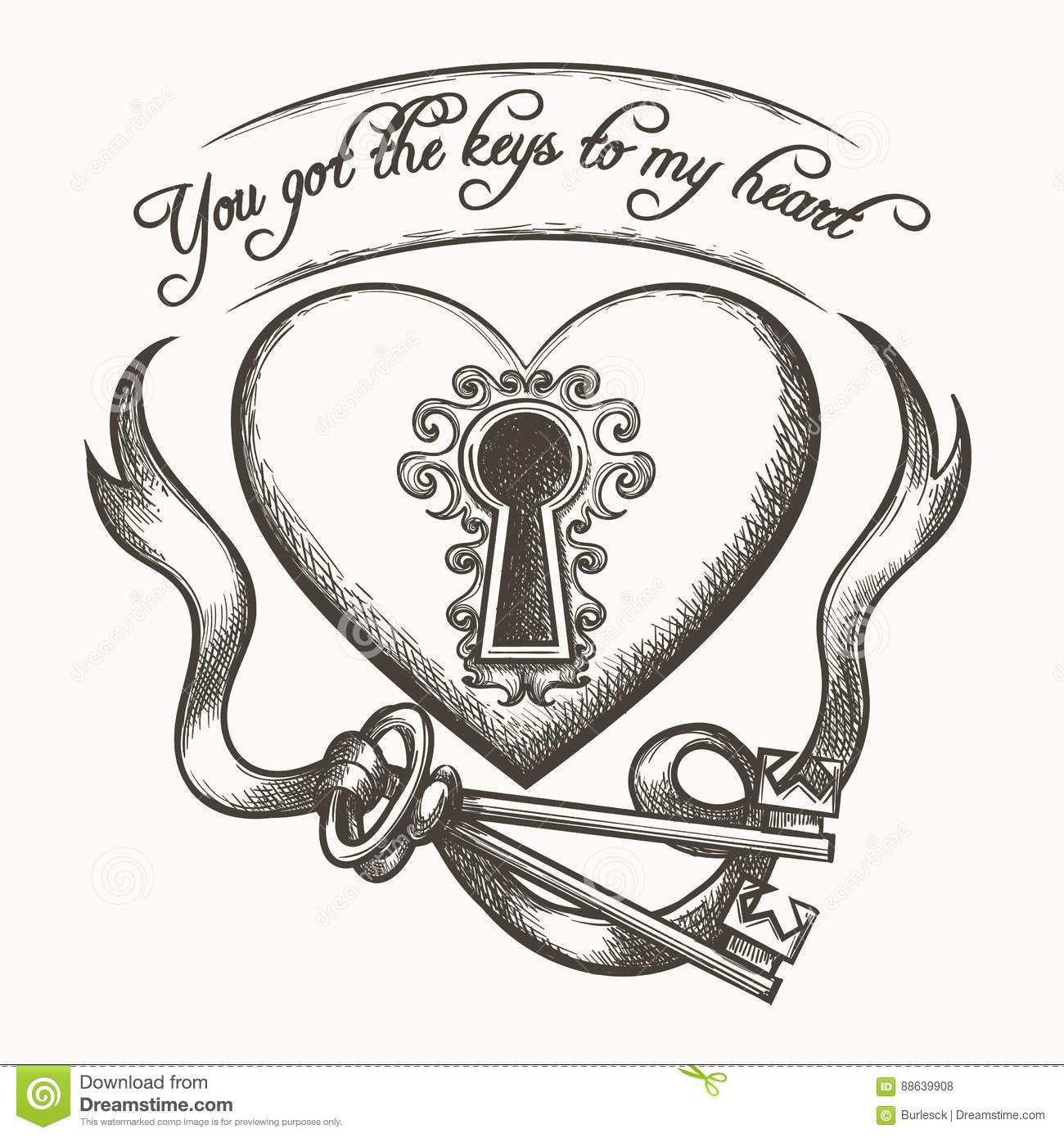 You Got The Keys To My Heart Vintage Hand Drawn Vector