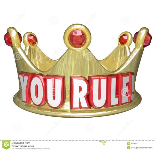 You Rule Gold Crown Words King Queen Monarch Top Ruler ...