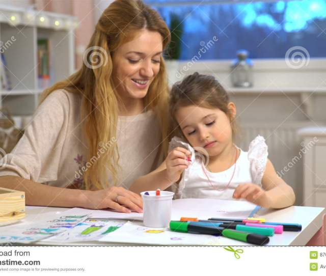 Young Attractive Mom Teaches Child The Alphabet Stock Footage Video Of Draw Classroom 87095574