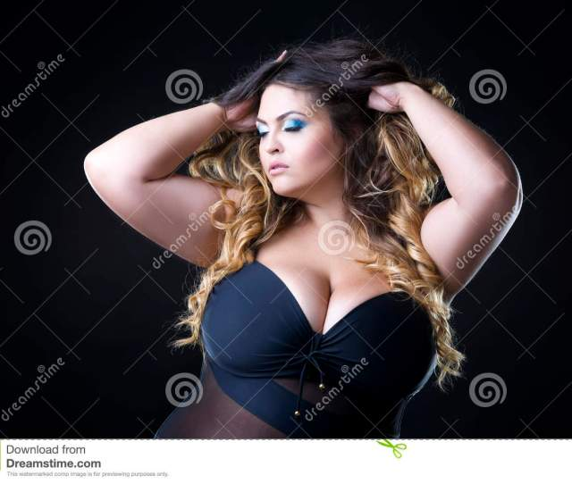 Young Beautiful Caucasian Plus Size Model With Big Breast In Black Bra Xxl Woman On