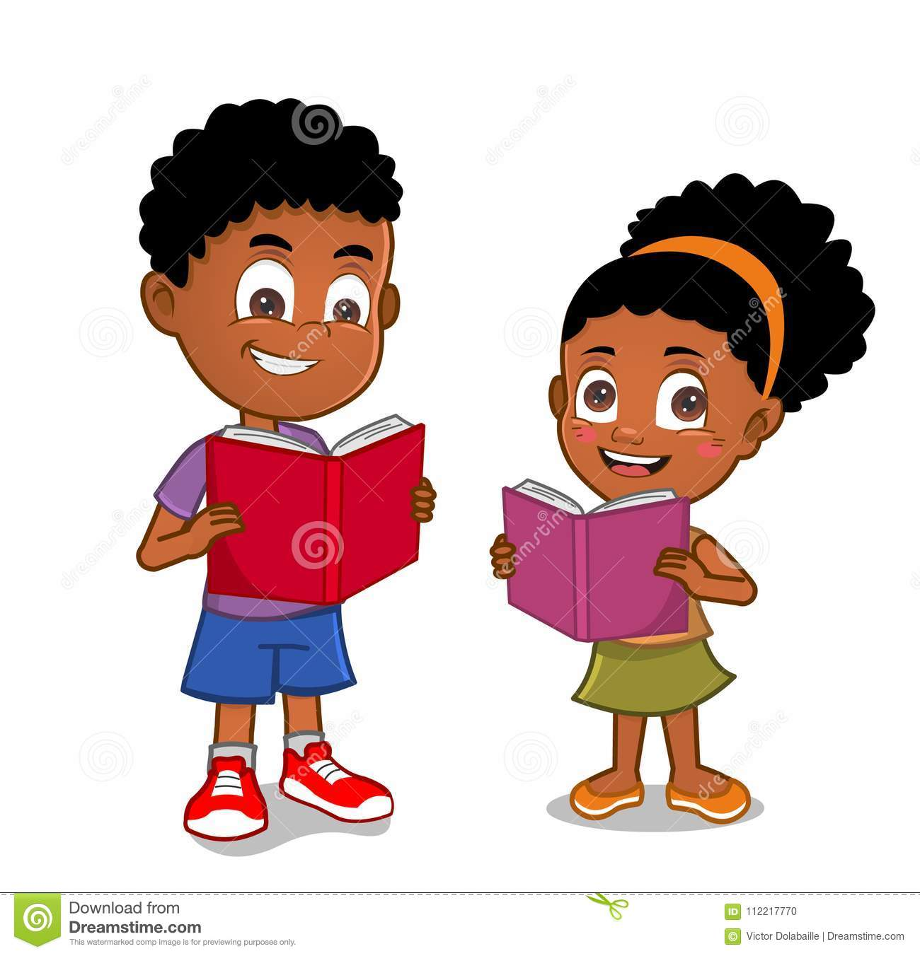 African American Kids Reading Books Stock Illustration