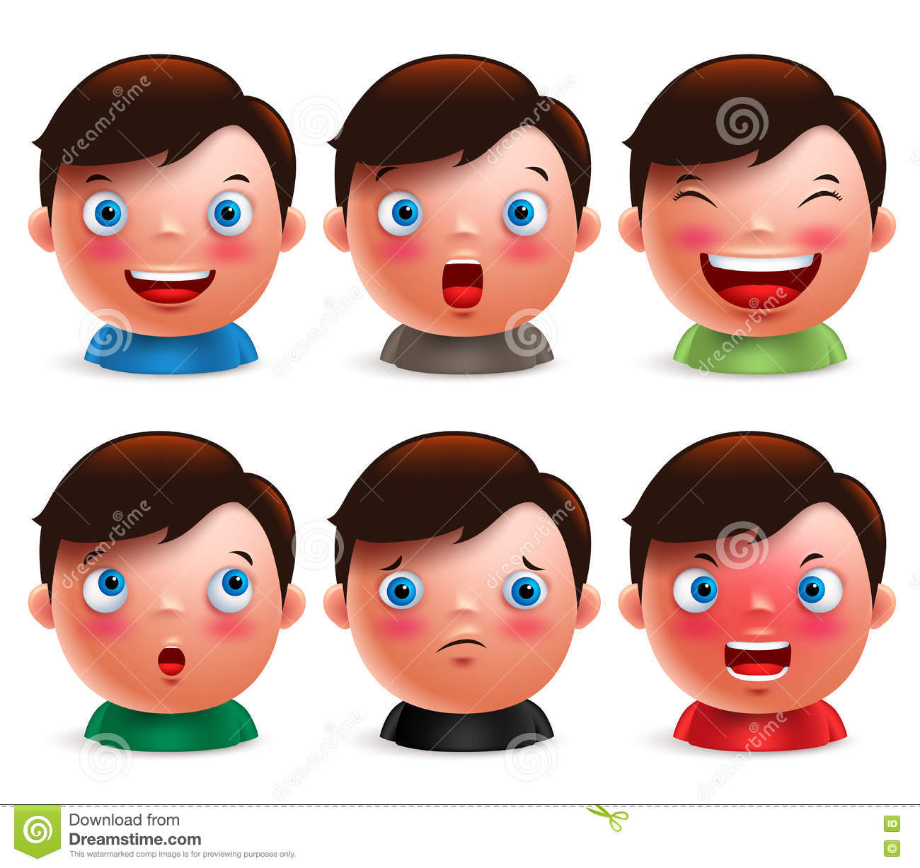 Young Boy Kid Avatar Facial Expressions Set Of Cute