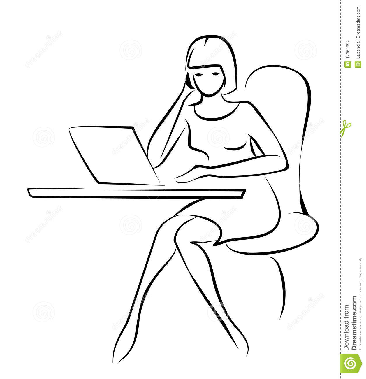 Young Business Woman Sketch In Black Lines Stock