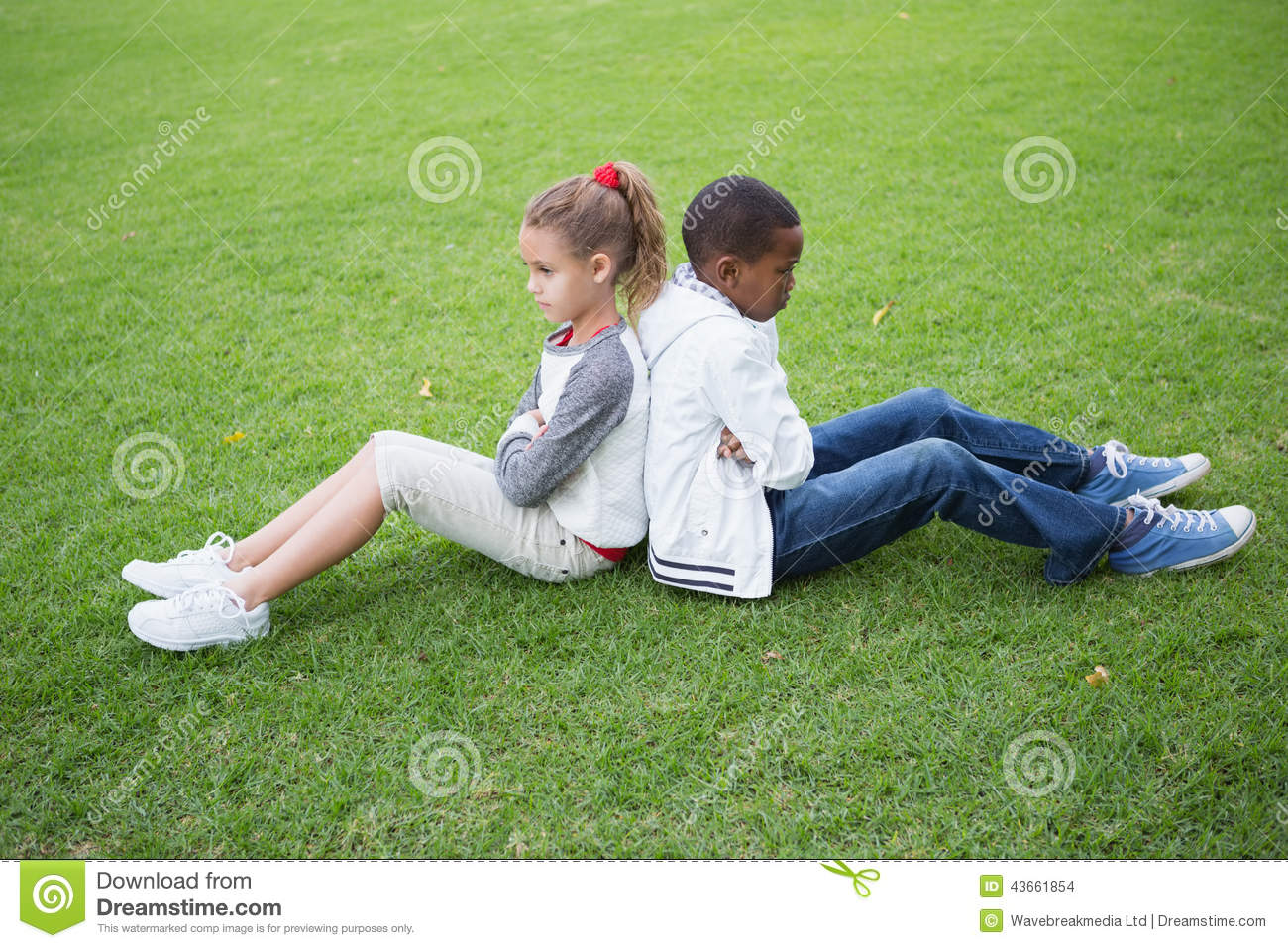 Young Friends Not Talking To Each Other After Fight Stock