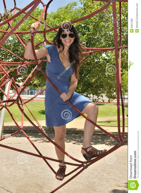 Young Girl In Playground For Children Stock Photo - Image ...