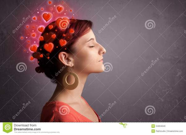 Young Girl Thinking About Love With Red Hearts Stock Photo ...