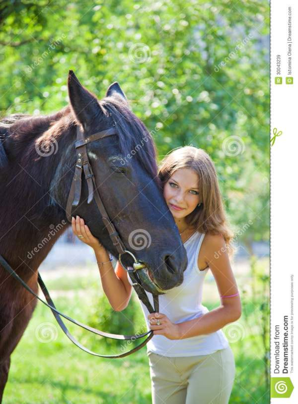 Young Girl With A Horse. Royalty Free Stock Images - Image ...