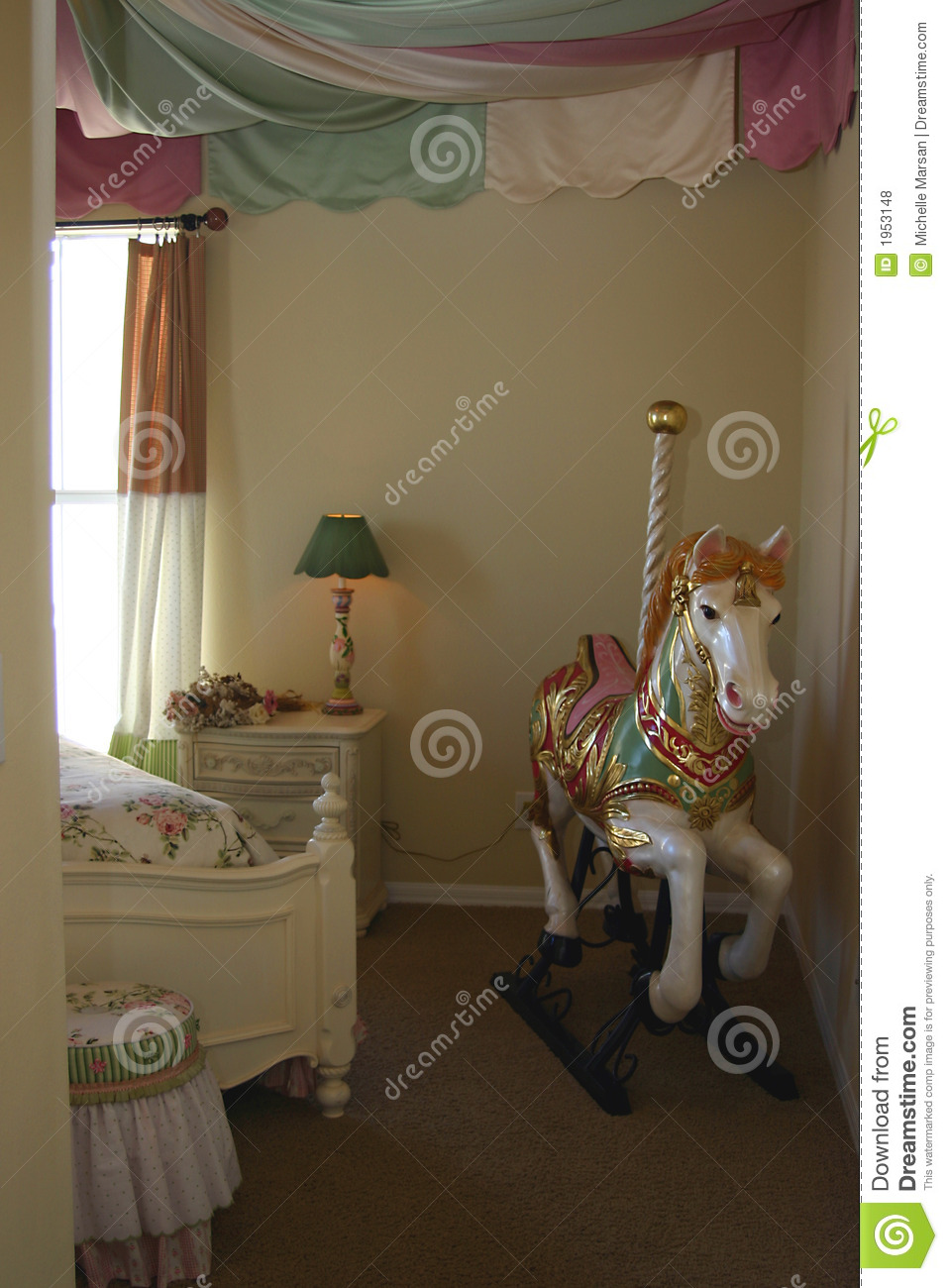 Young Girls Bedroom With Carousel Horse Royalty Free Stock